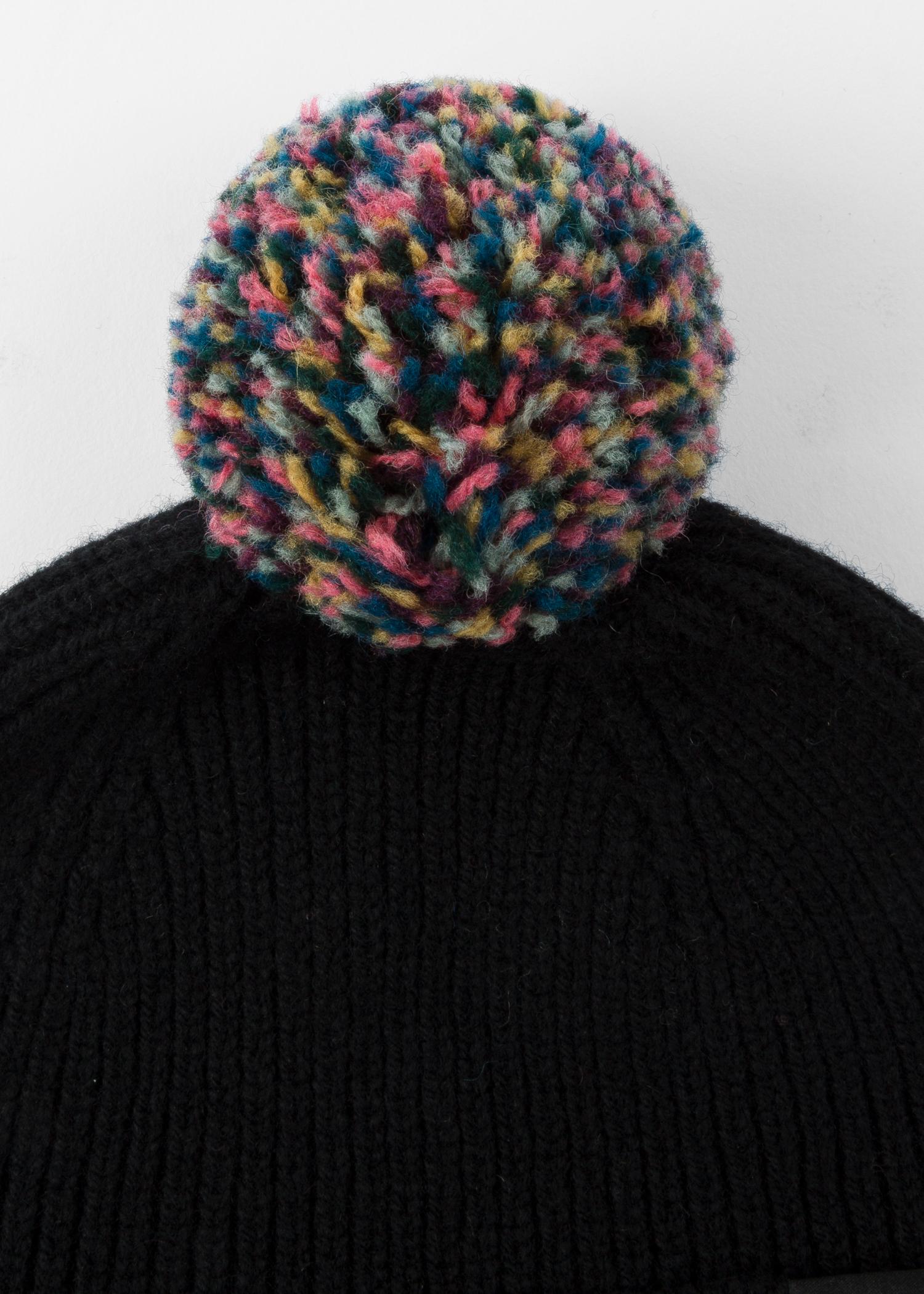 ac33210468b Detailed View - Men s Black Pom-Pom Wool Beanie Hat Paul Smith