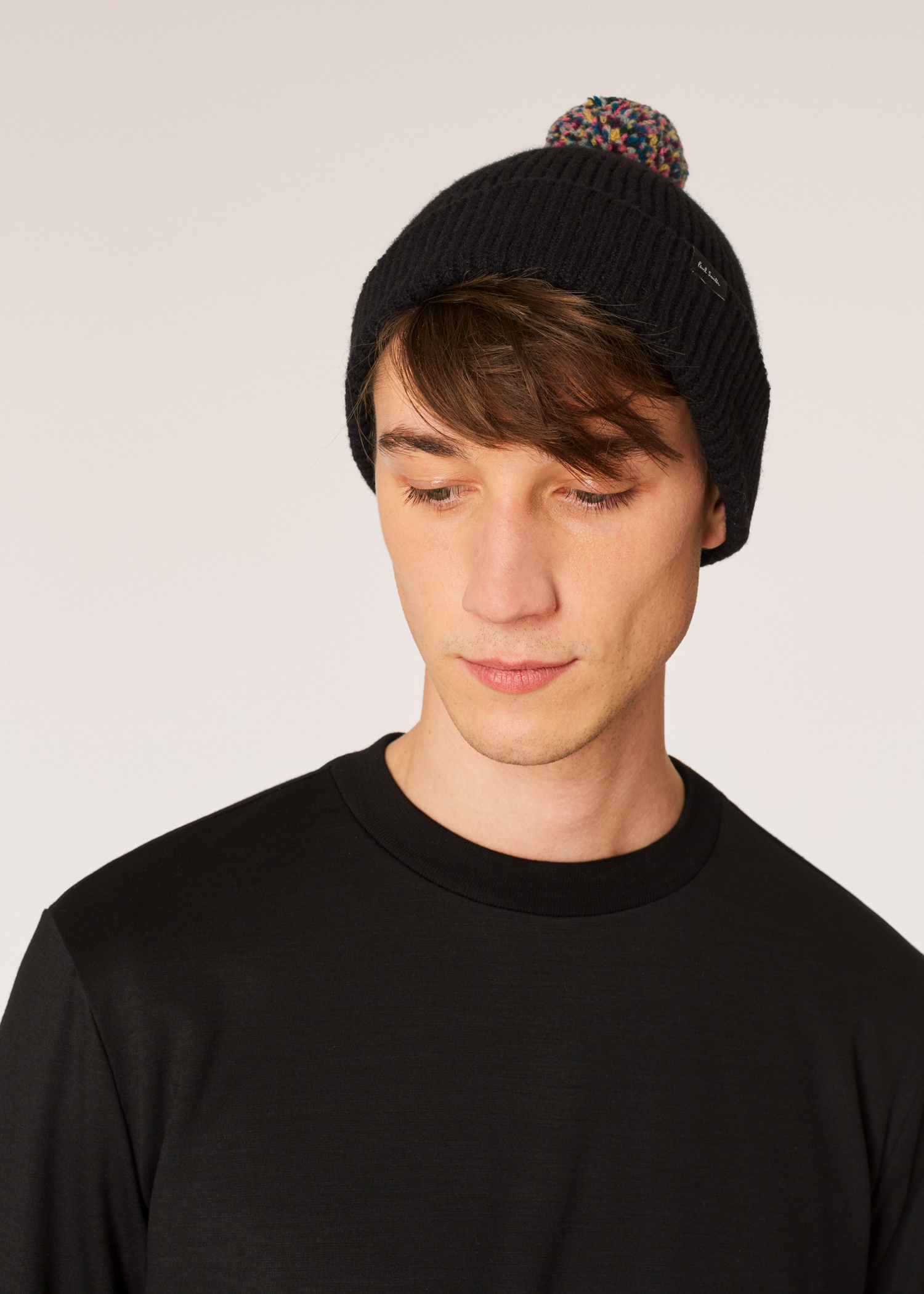 Model front View - Men s Black Pom-Pom Wool Beanie Hat Paul Smith 22b08a237d0