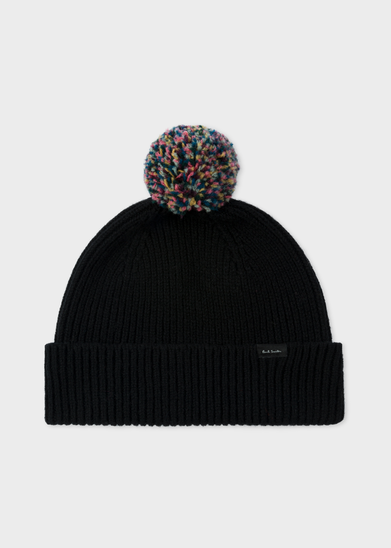 579d1205ec0 Front View - Men s Black Pom-Pom Wool Beanie Hat Paul Smith