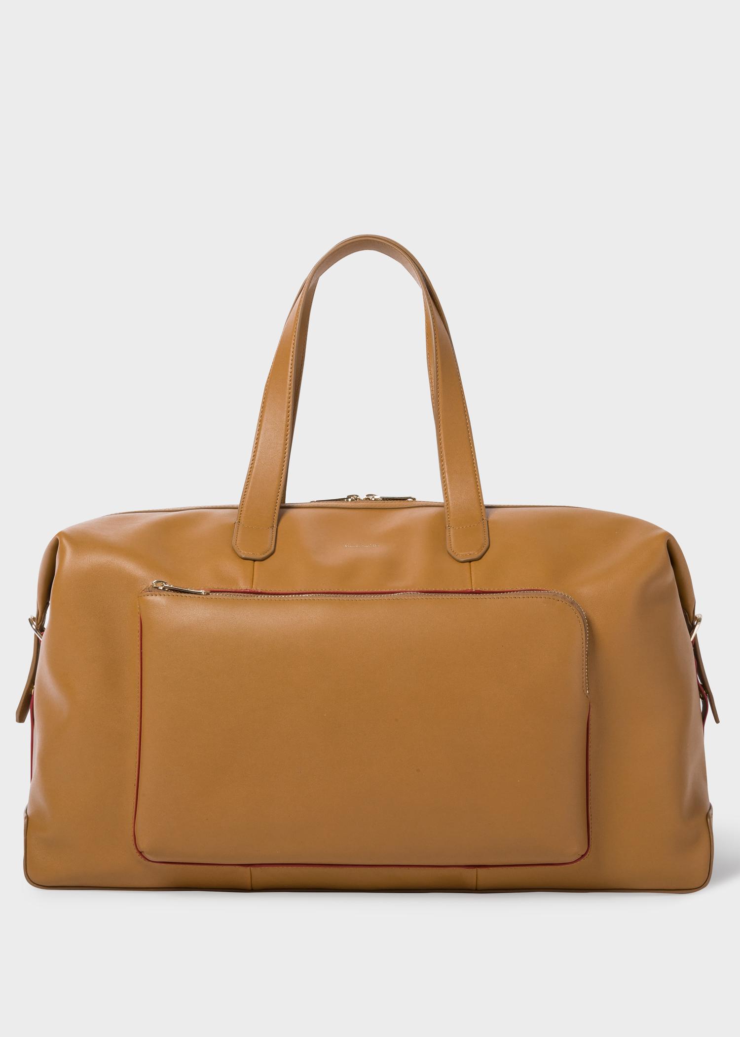 Men S Tan Soft Leather Weekend Bag