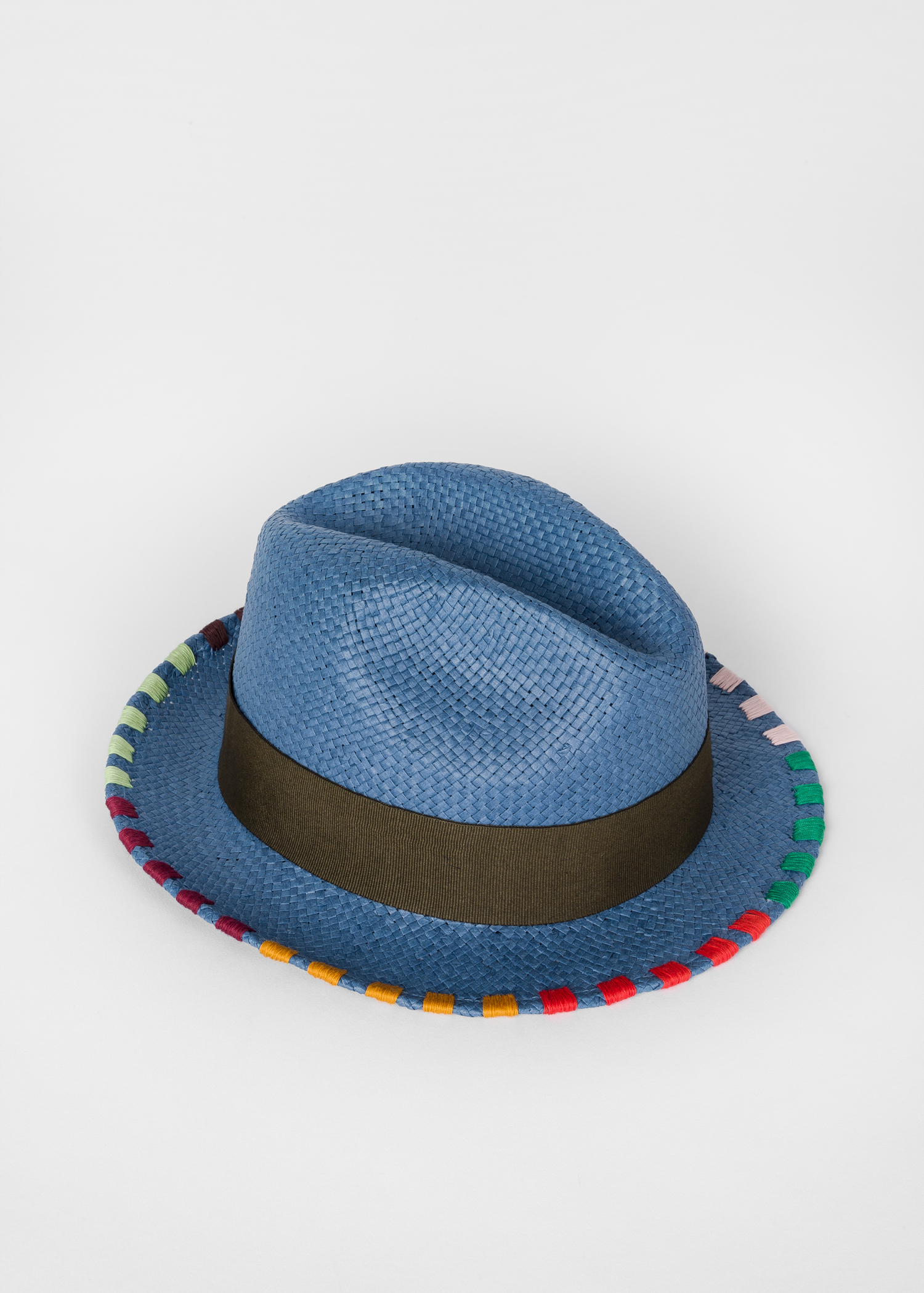 c1fb364309ed4 Angled View - Men s Slate Blue Woven Straw Fedora Hat With Multi-Coloured  Stitching Paul