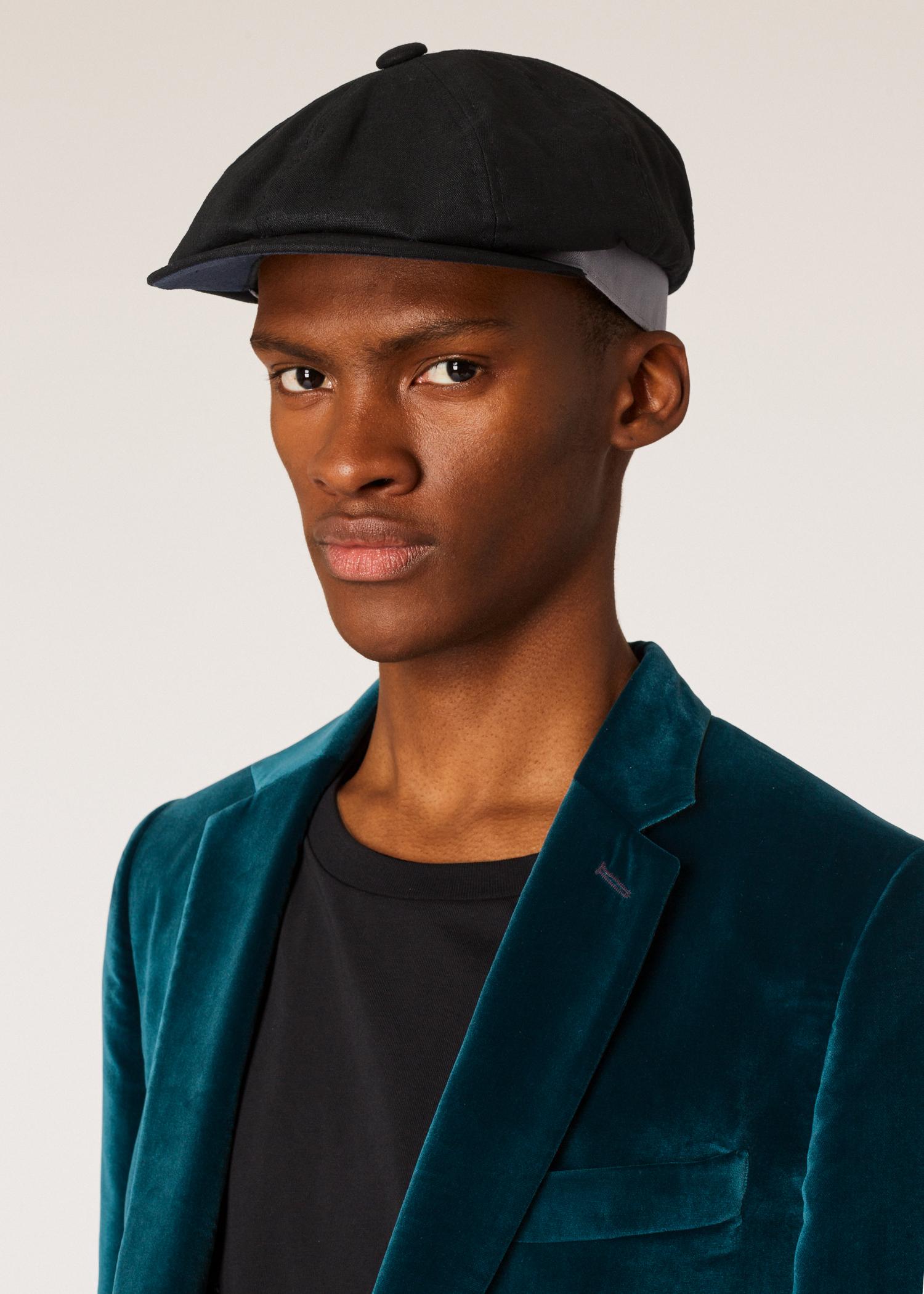 7b682f94 Model view - Men's Black Linen Flat Cap Paul Smith