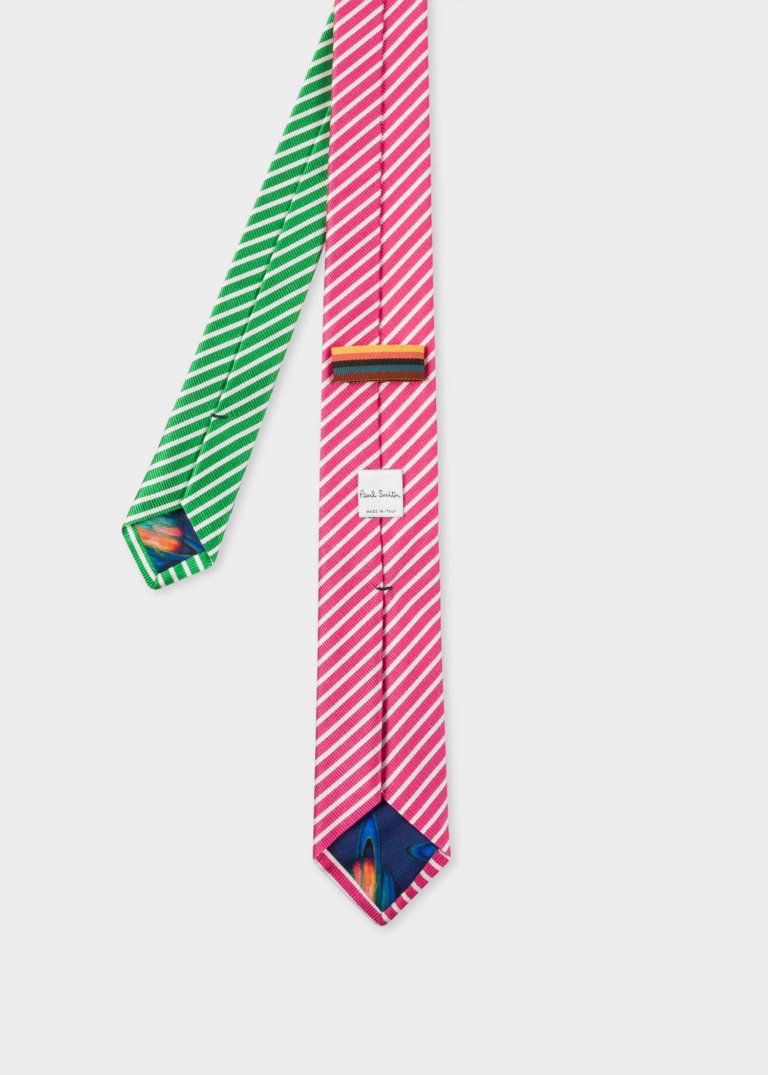 ffa7942dcb75 Back View - Men's Pink And Green Diagonal Stripe Narrow Silk Tie Paul Smith