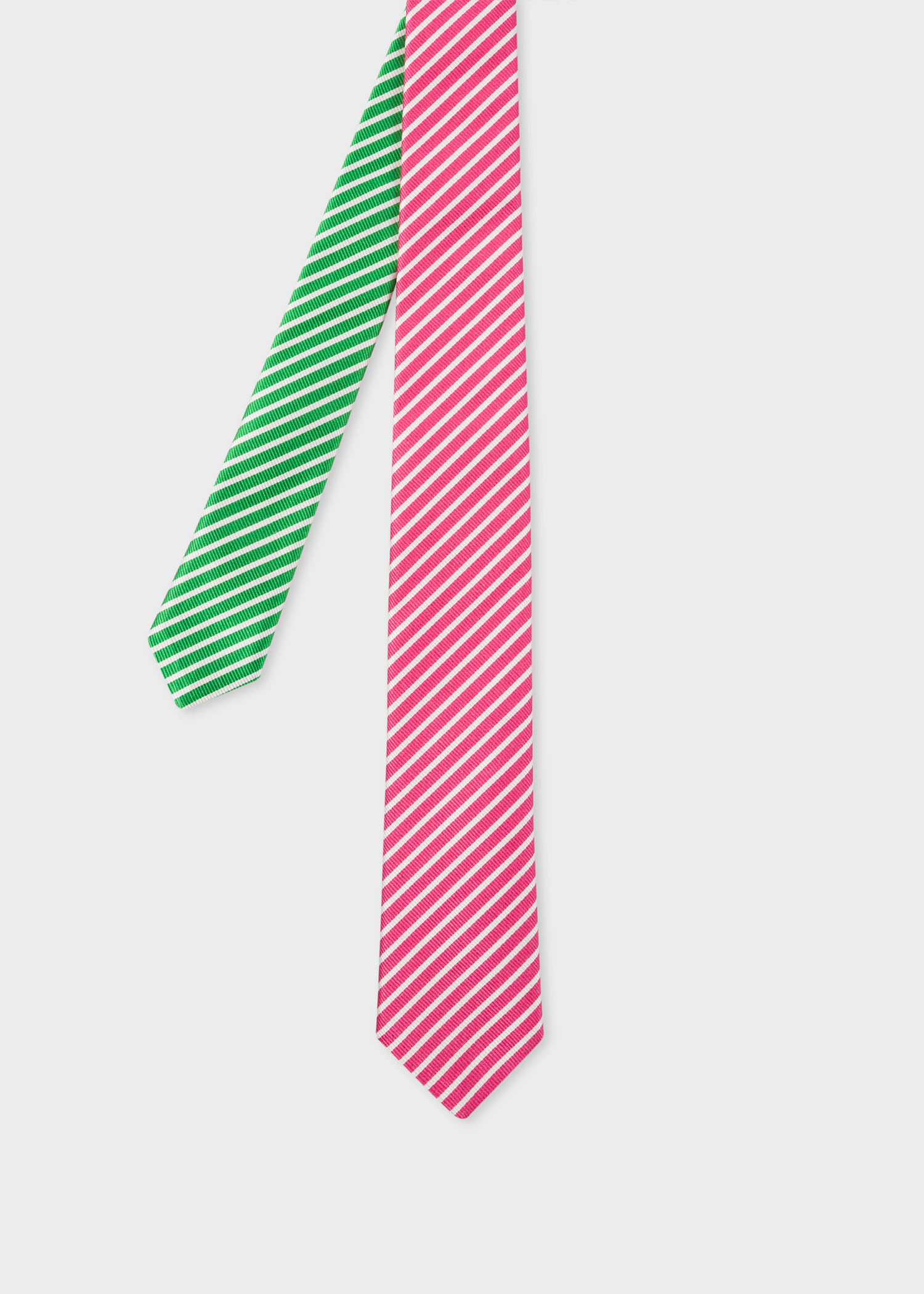 9c7934be42d3 Front View - Men's Pink And Green Diagonal Stripe Narrow Silk Tie Paul Smith