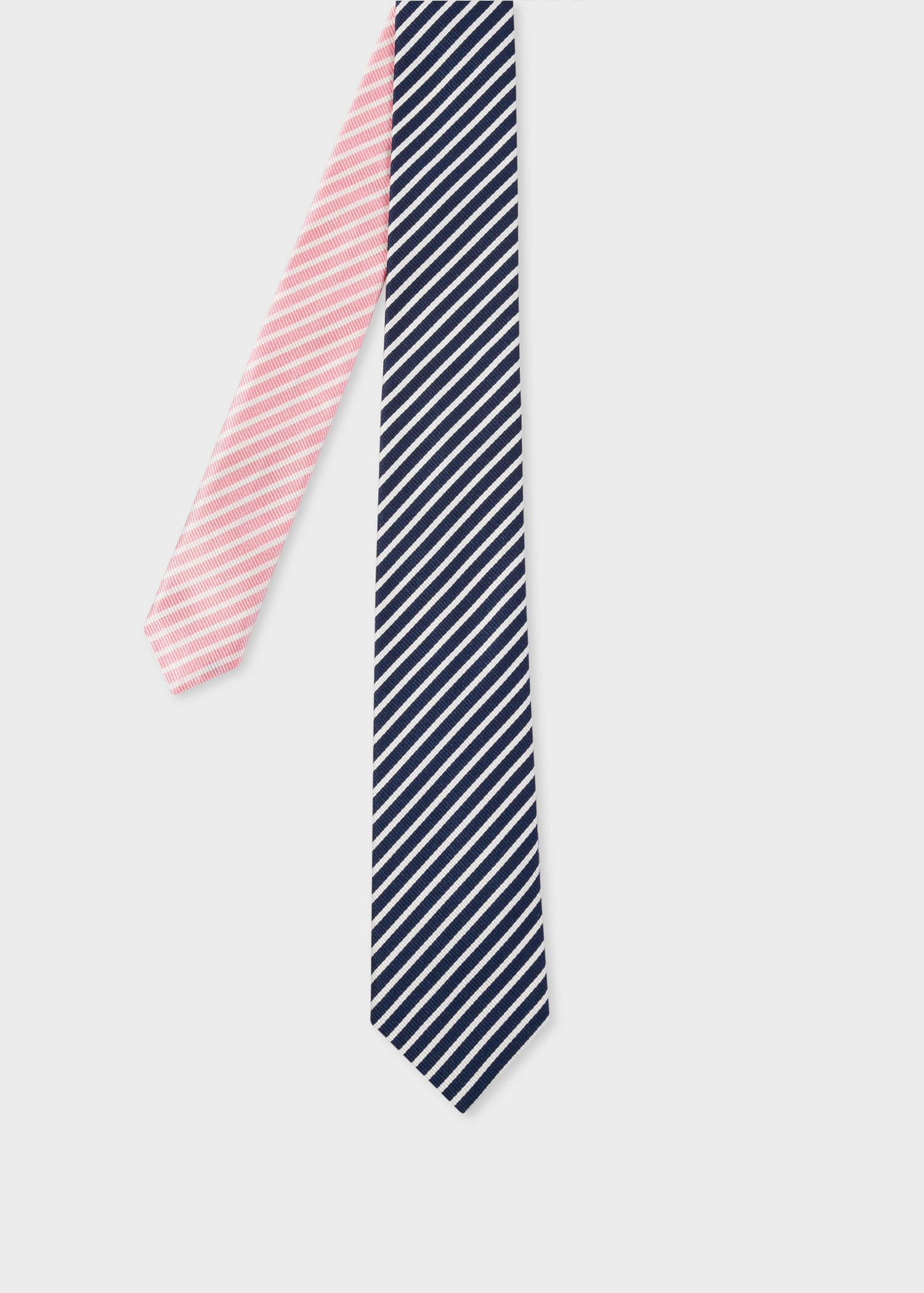 f55c2f48541a Front View - Men's Navy And Pink Diagonal Stripe Narrow Silk Tie Paul Smith
