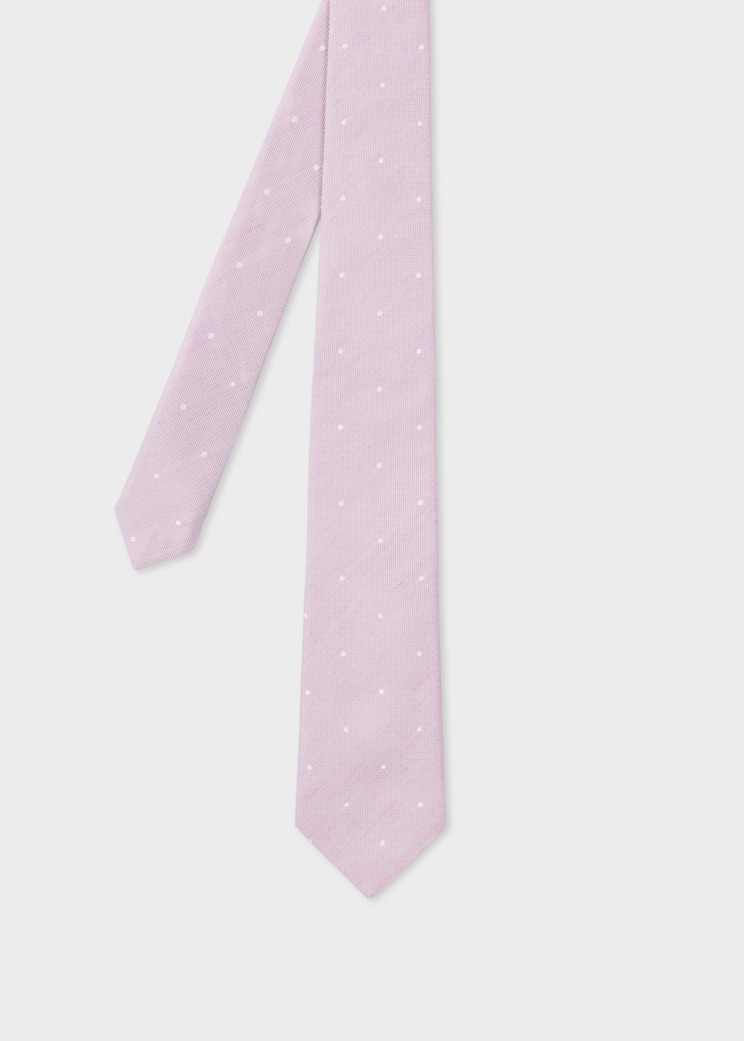 099cf43c8501 Front View - Men's Light Pink Polka Dot Narrow Silk And Linen Tie Paul Smith