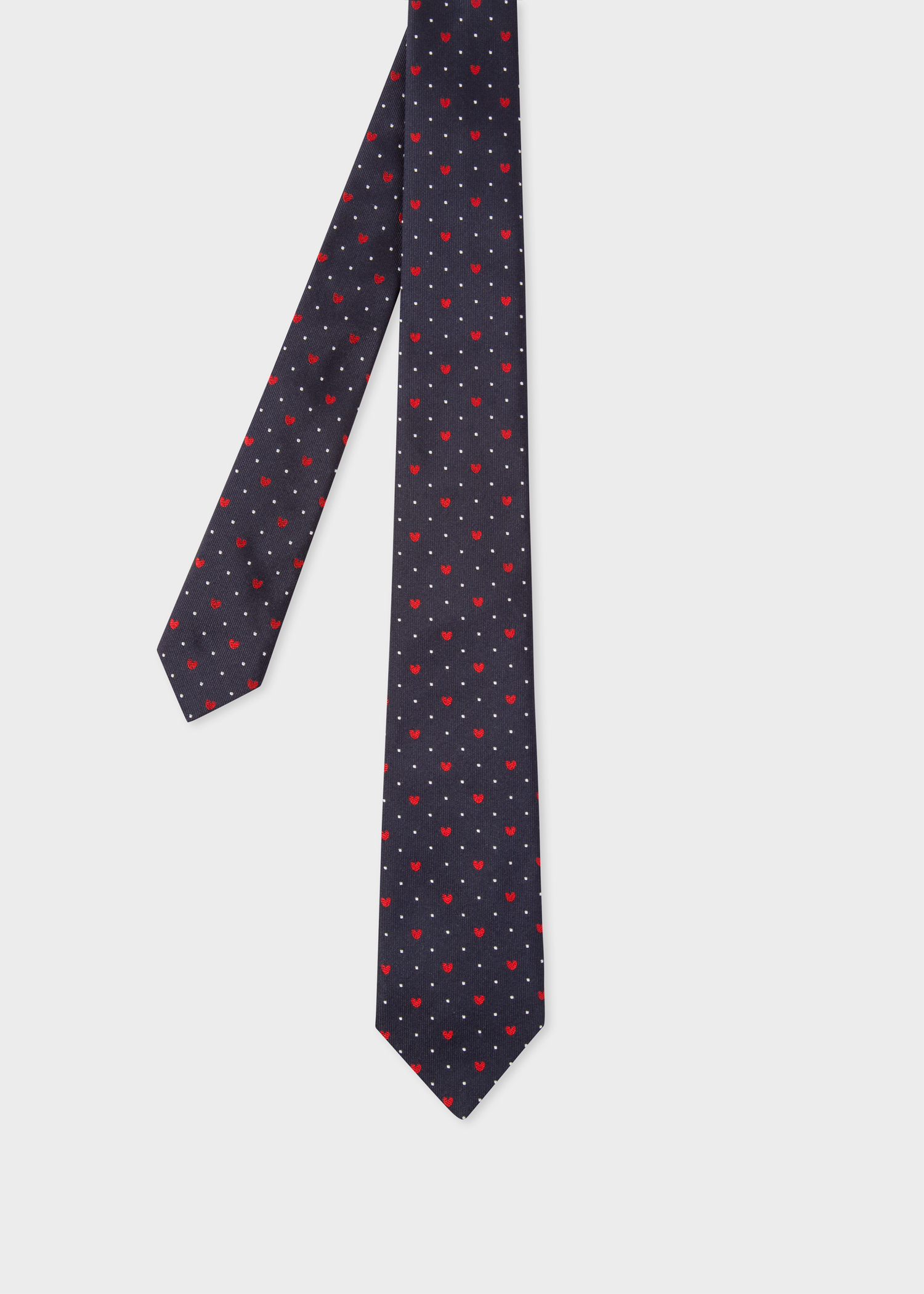 8a430499f652 Front View - Men's Navy 'Heart And Dot' Motif Narrow Silk Tie ...