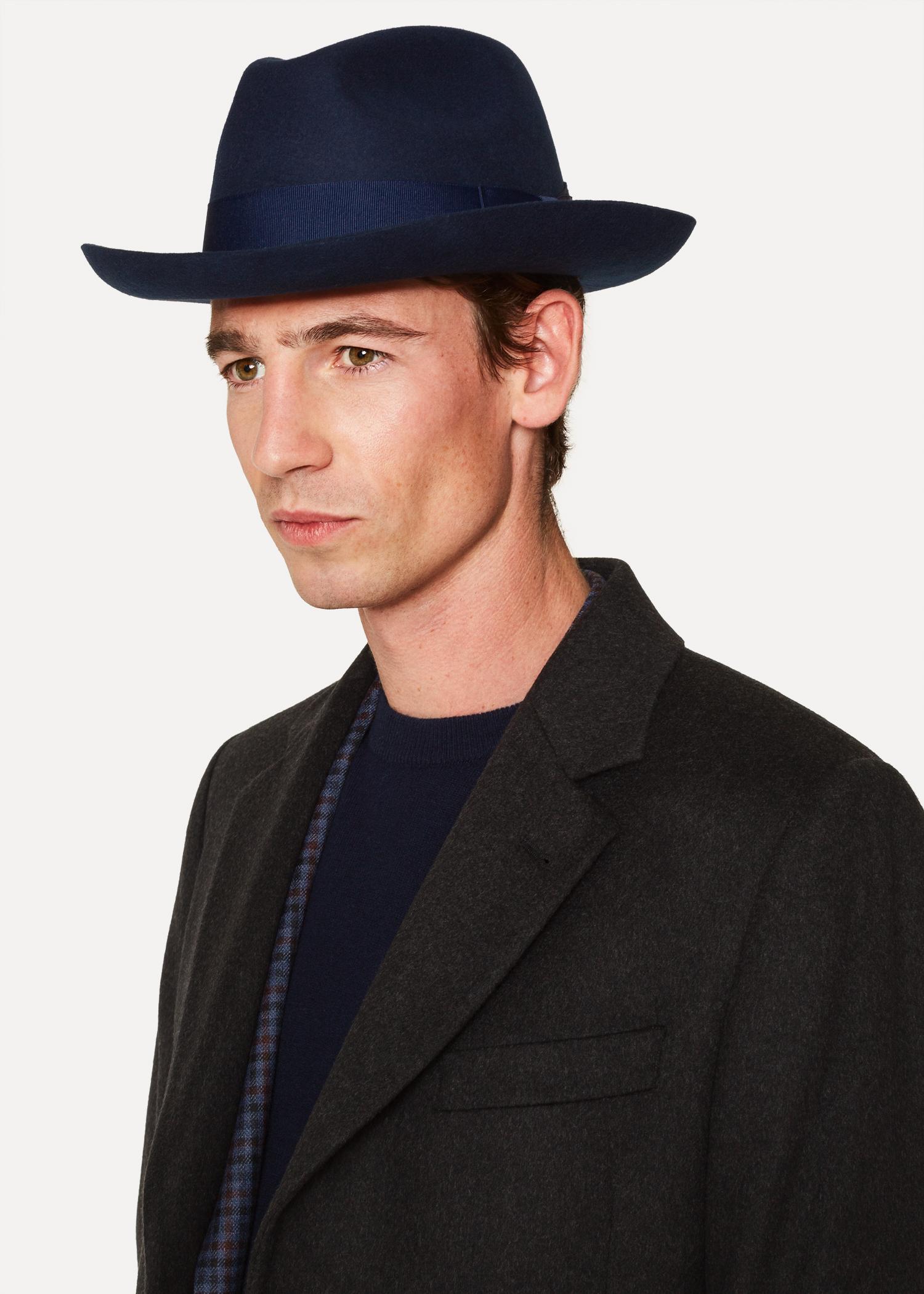 Men s Navy Wool-Felt Fedora Hat - Paul Smith Asia d347edd9a70