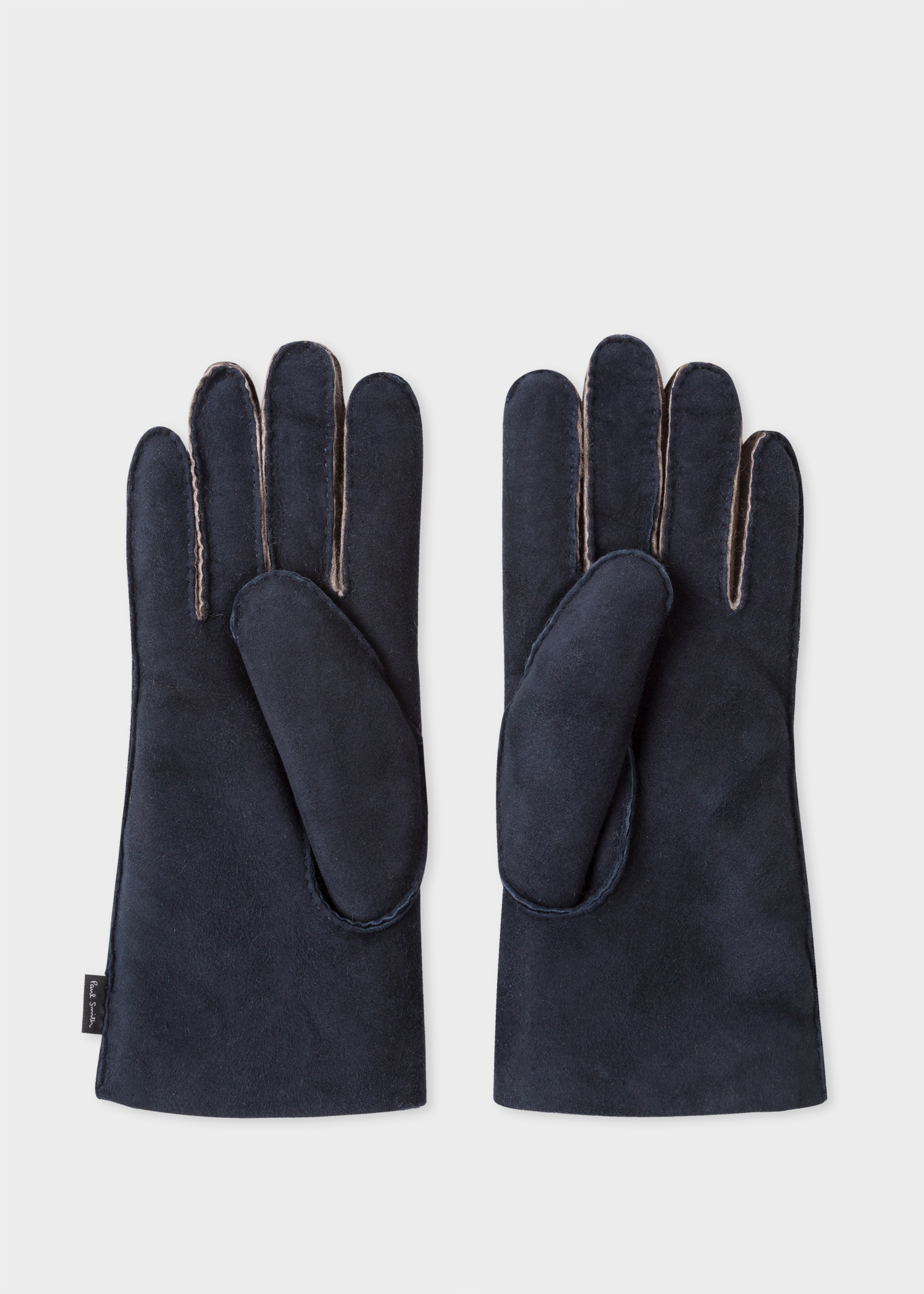 9e48b7c1ca87f Inside view - Men's Navy Suede Sheepskin Gloves Paul Smith