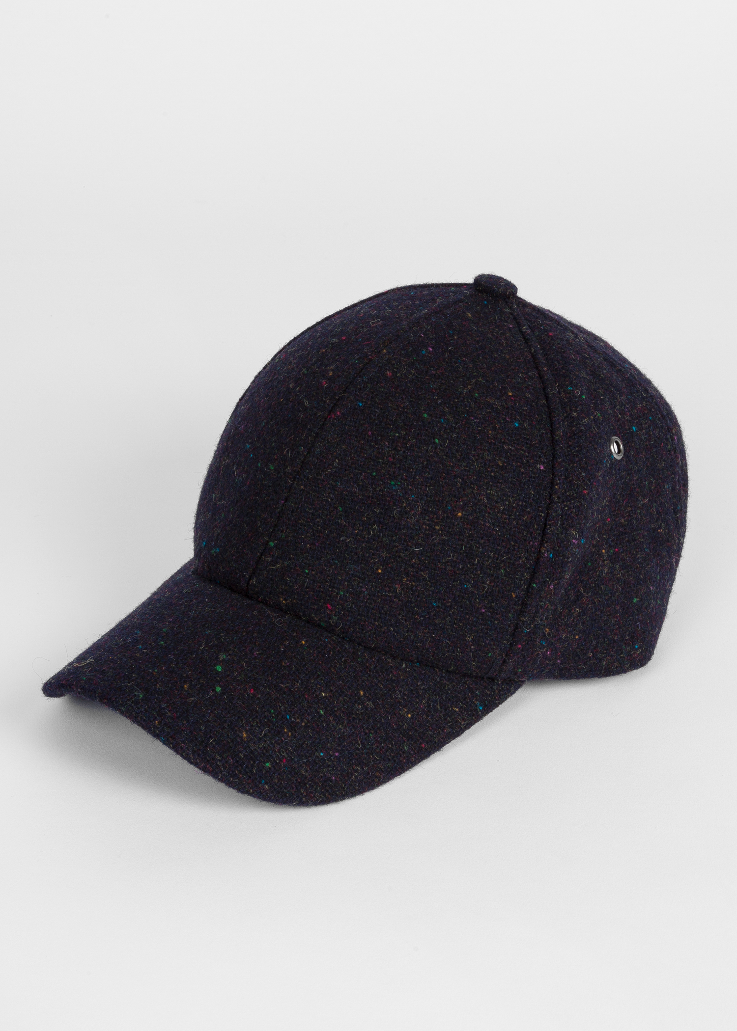 be1df98a3 Navy Flecked Wool Baseball Cap With 'Artist Stripe' Trim