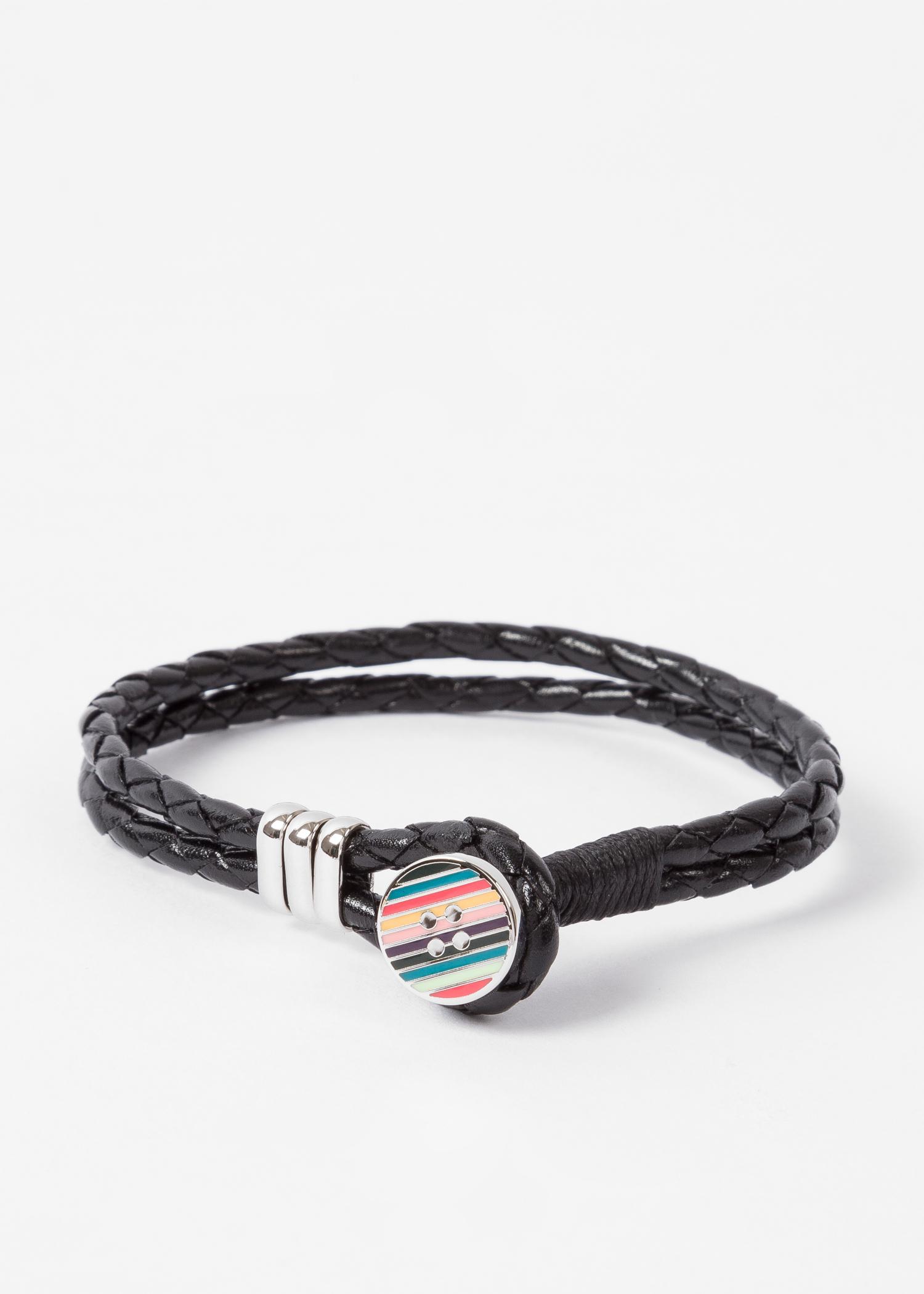 af2e168fefa2c Men's Stripe Button Black Leather Bracelet