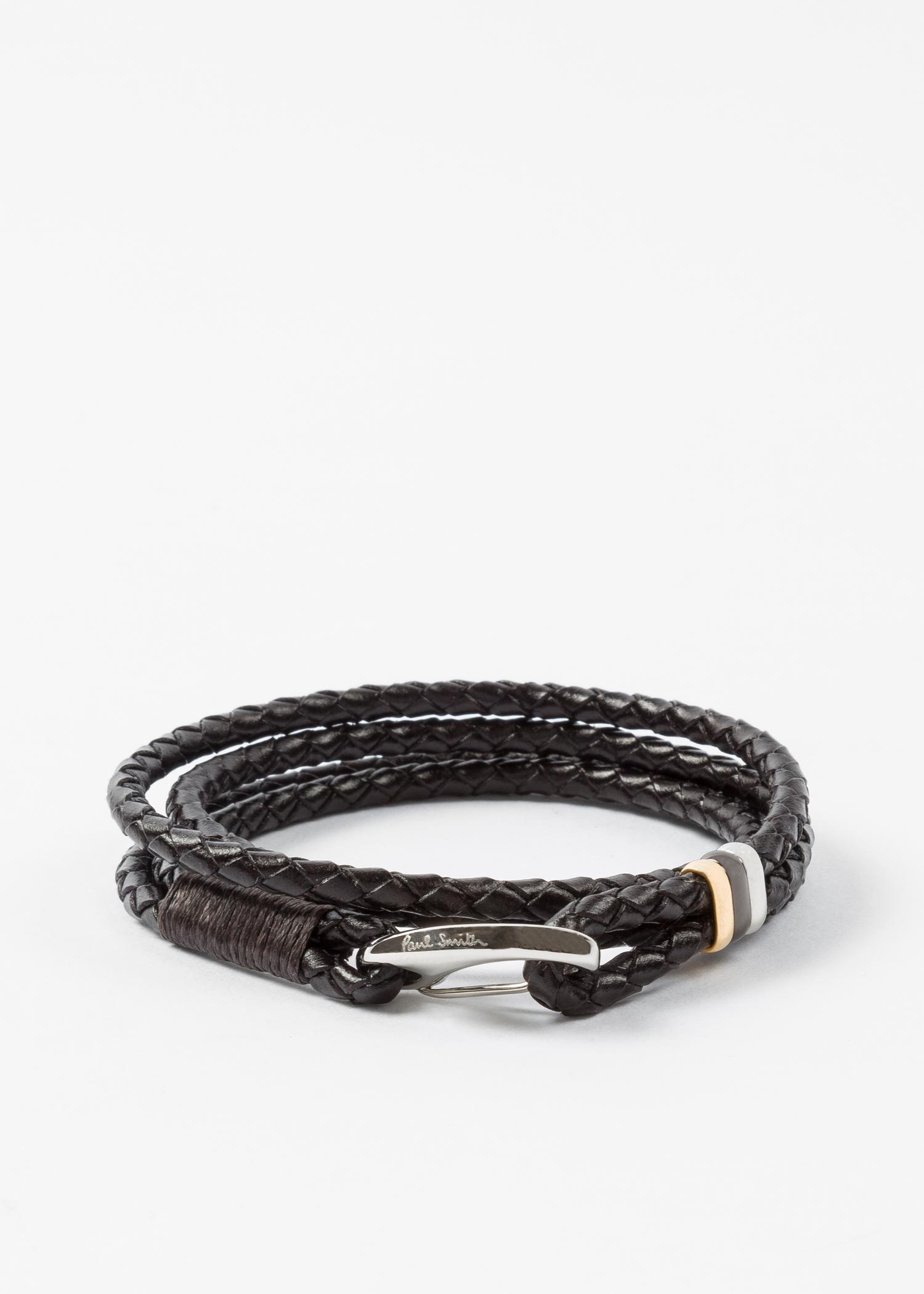 Men S Dark Brown Leather Wrap Bracelet
