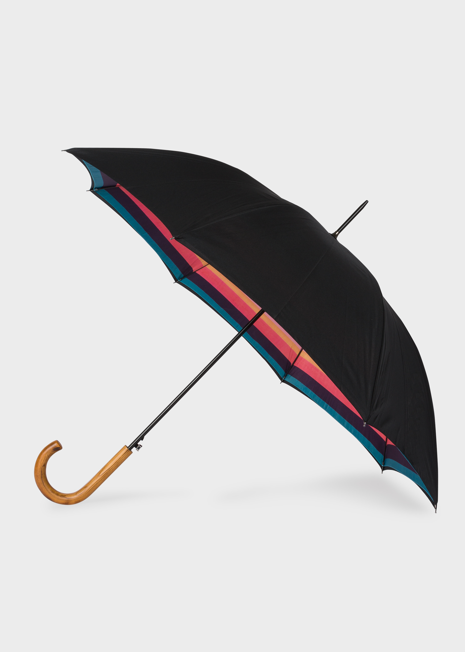 Side View Black Artist Stripe Canopy Walker Umbrella With Wooden Handle Paul Smith
