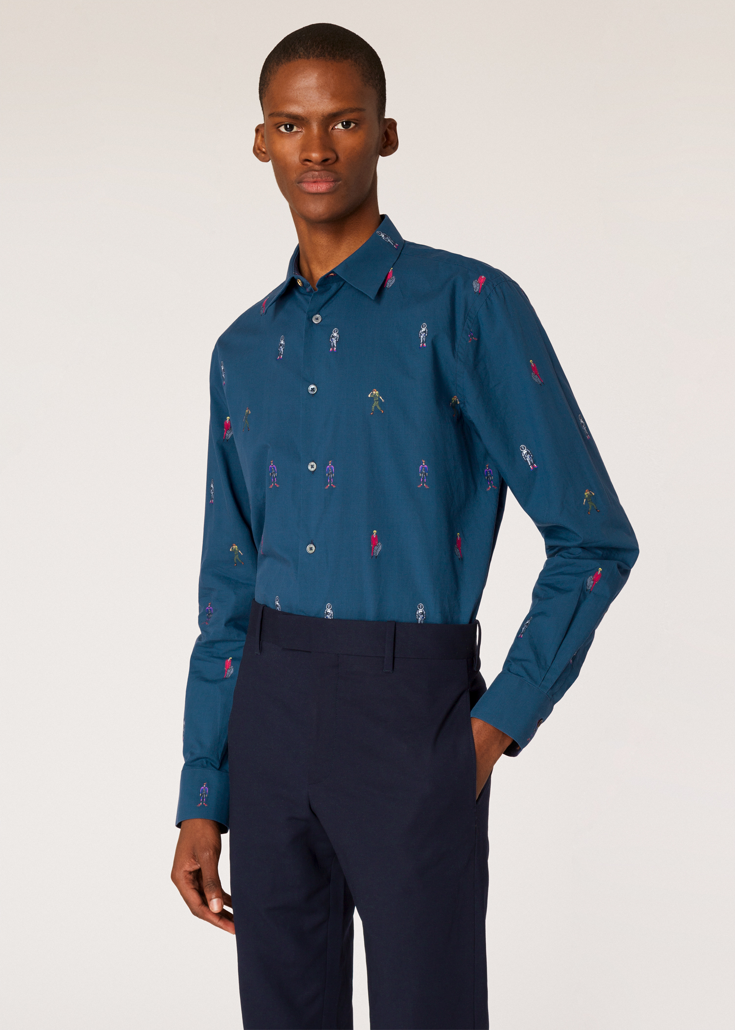 82e96db71 Model front close up - Men's Slim-Fit Navy Embroidered 'People' Motif Shirt