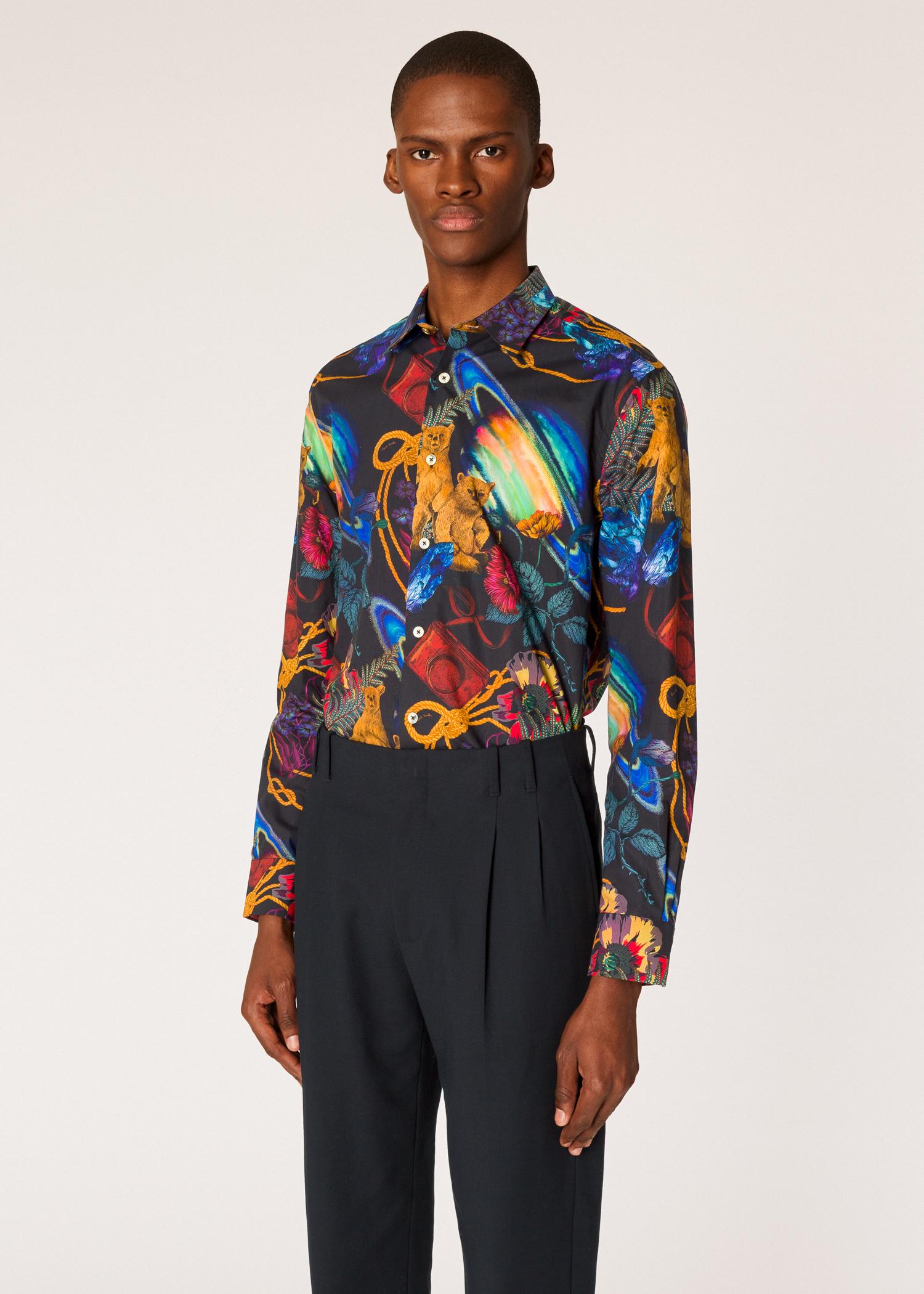 fff827332308 Model front close up - Men's Slim-Fit 'Explorer' Print Cotton Shirt Paul