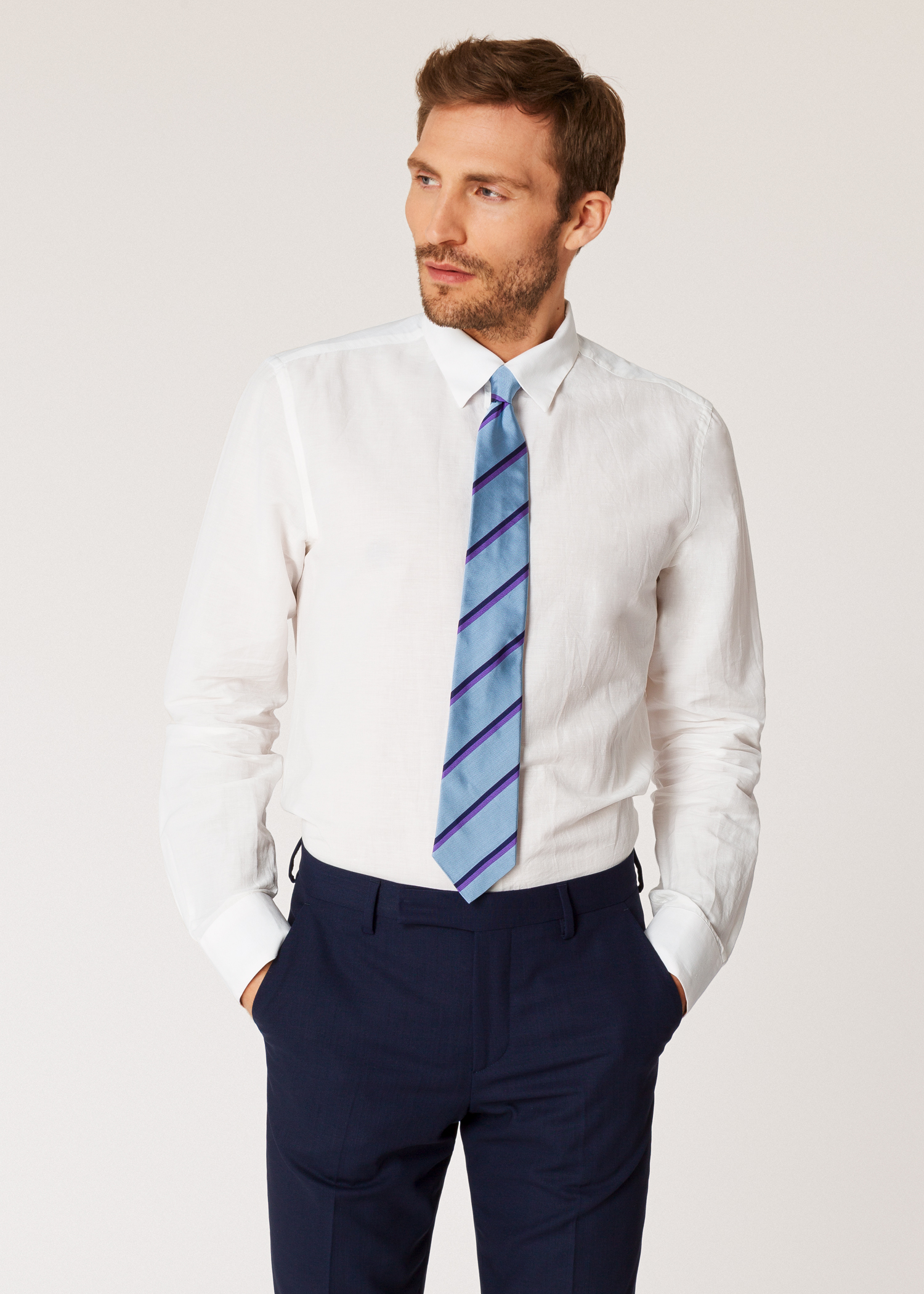 f50dda8be6 Men's Slim-Fit Off-White Cotton And Linen Shirt