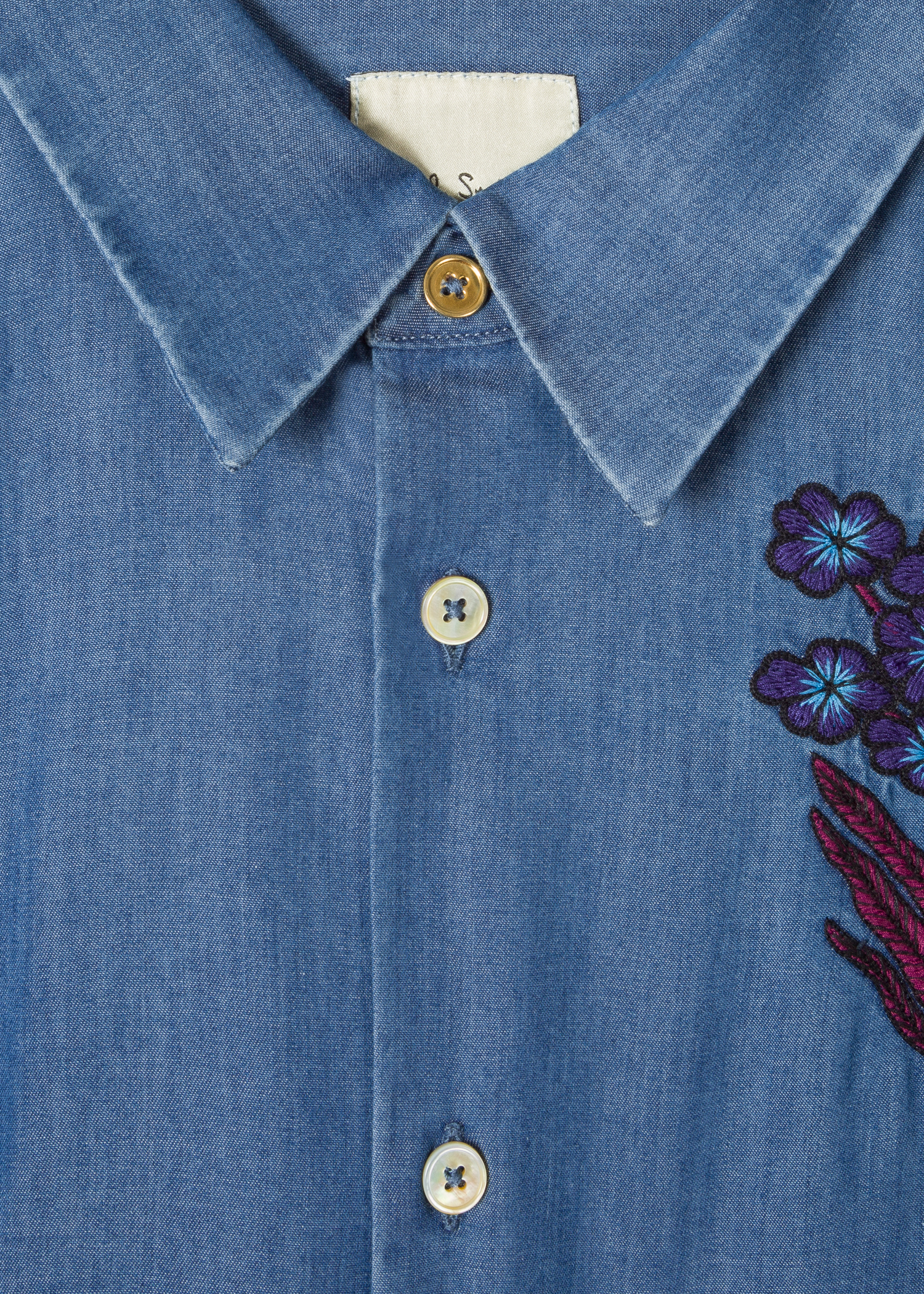 ad4243a2cee6 Collar detail - Men's Slim-Fit Blue Chambray Shirt With 'Explorer' Embroidery  Paul