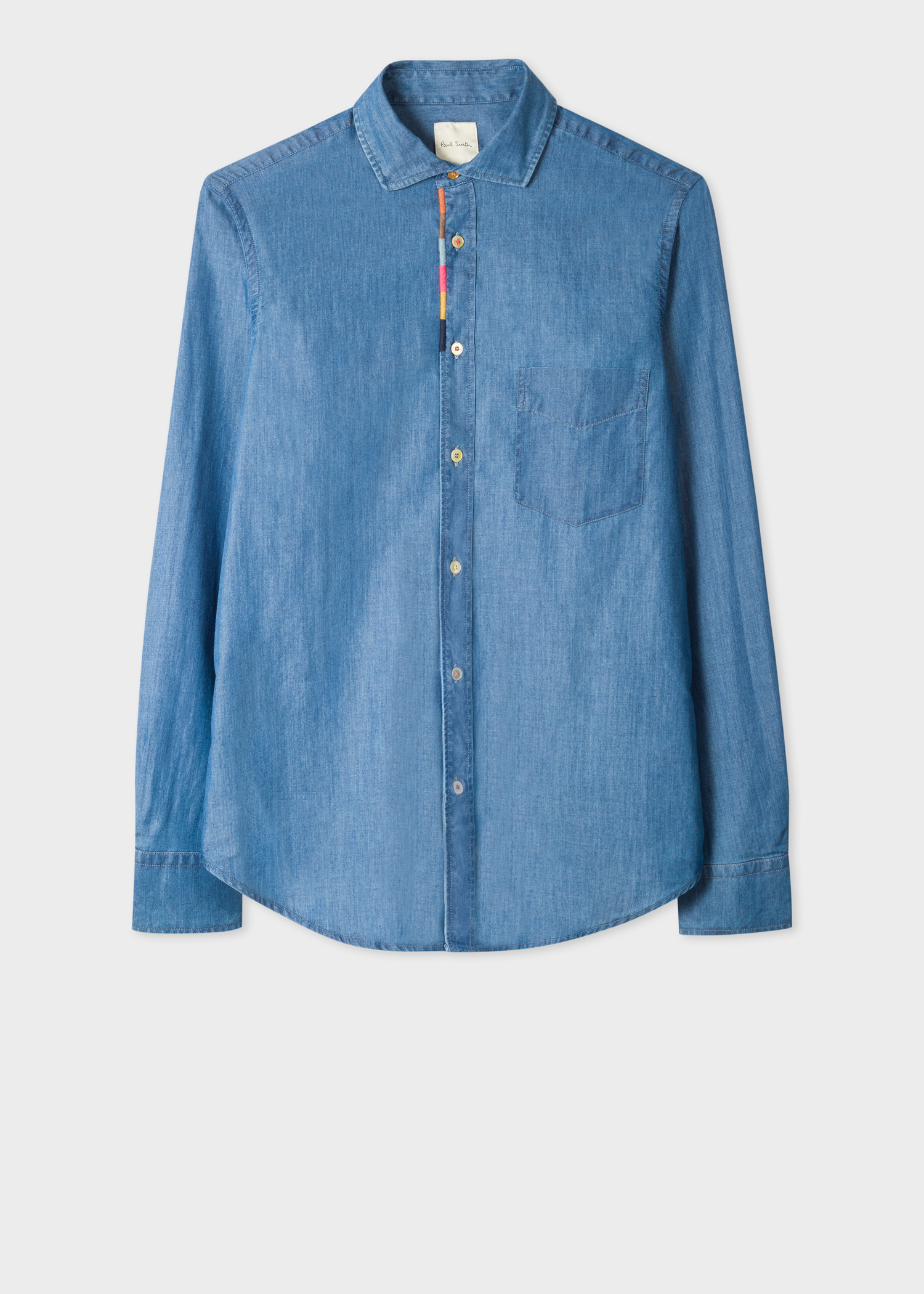 men u0026 39 s tailored-fit blue chambray shirt with  u0026 39 artist stripe u0026 39  placket embroidery detail