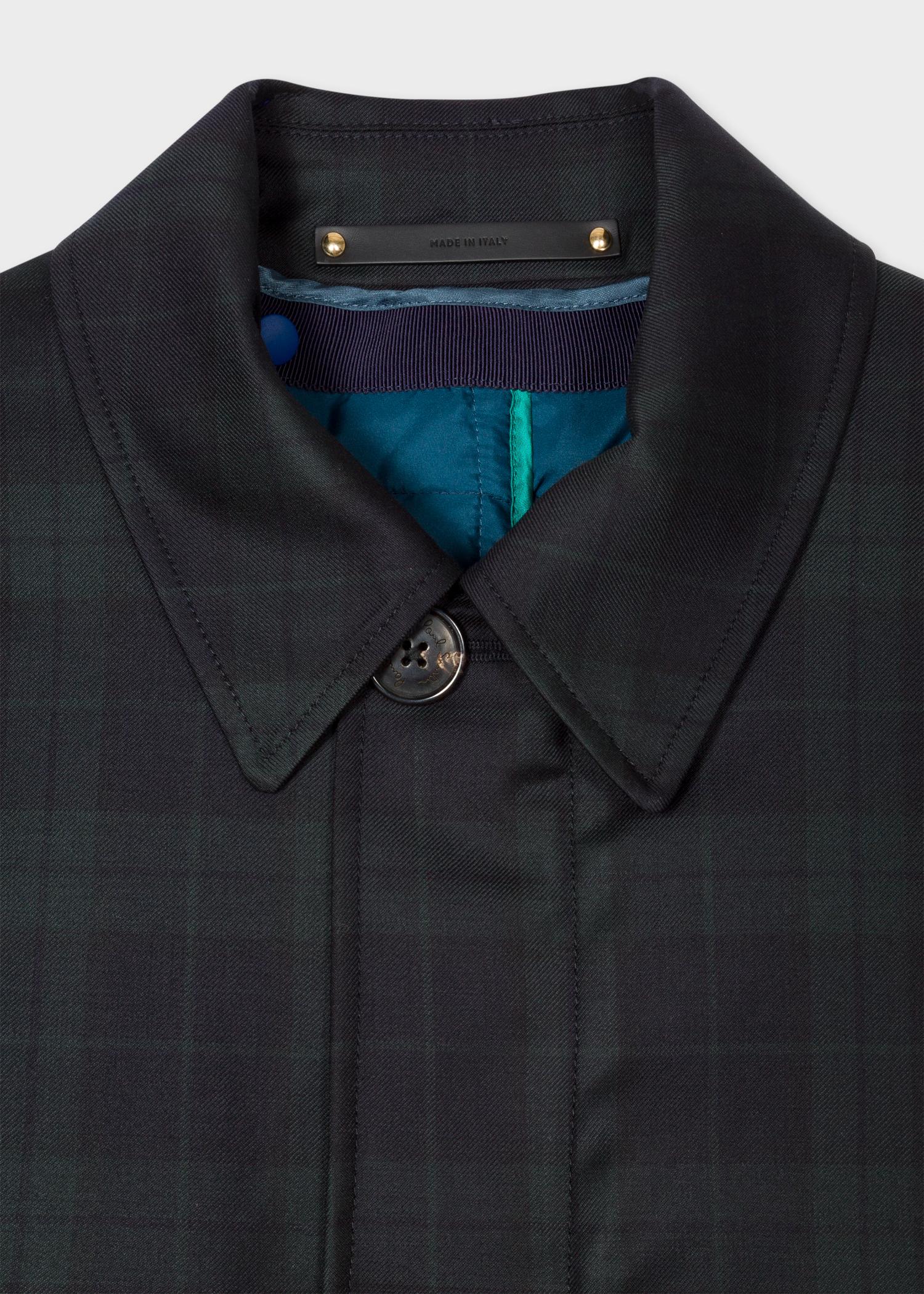 3dfdab261 Men's Navy Black Watch Check Loro Piana Wool Mac With Detachable Gilet
