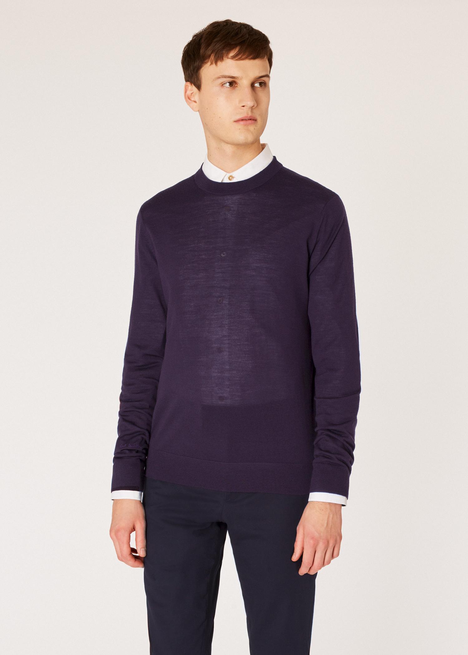 30efe39cd Model front clsoe up - Men's Aubergine Merino Wool Sweater Paul Smith