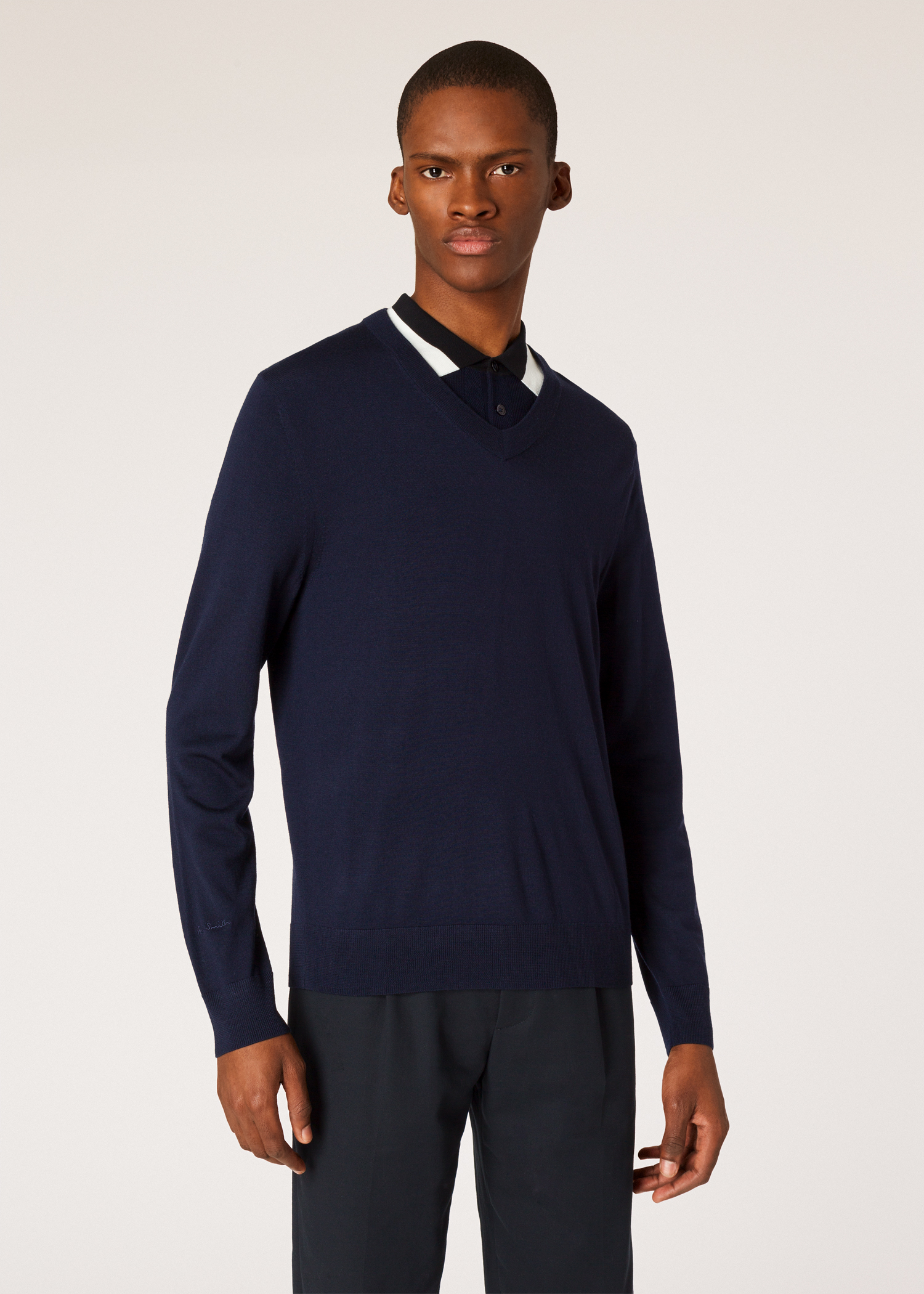 7314f7291e0 Model front close up- Men s Navy V-Neck Merino Wool Sweater With Contrast  Collar