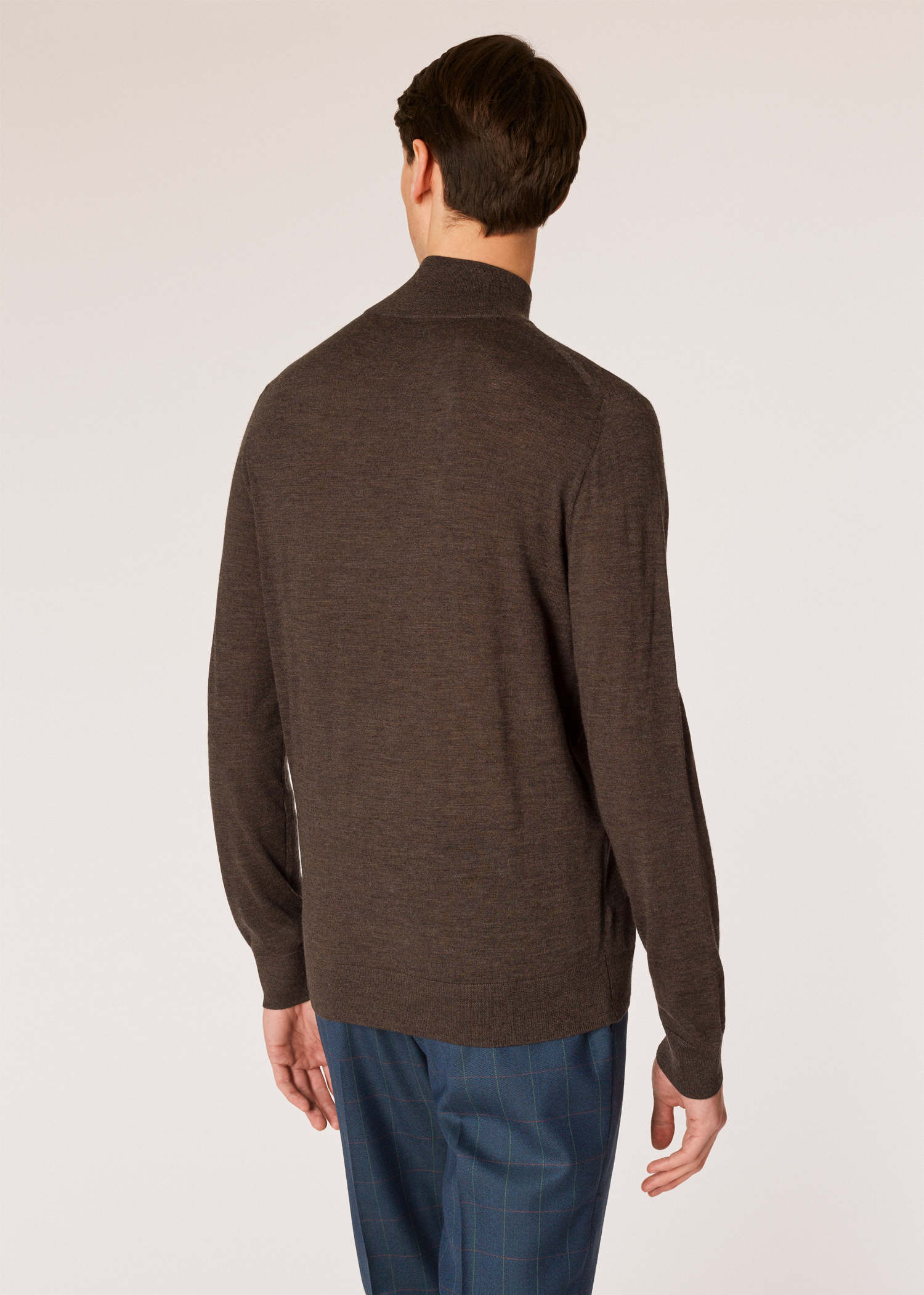 37508fd9d59 Men's Hazelnut Funnel Neck Merino Wool Half-Zip Sweater
