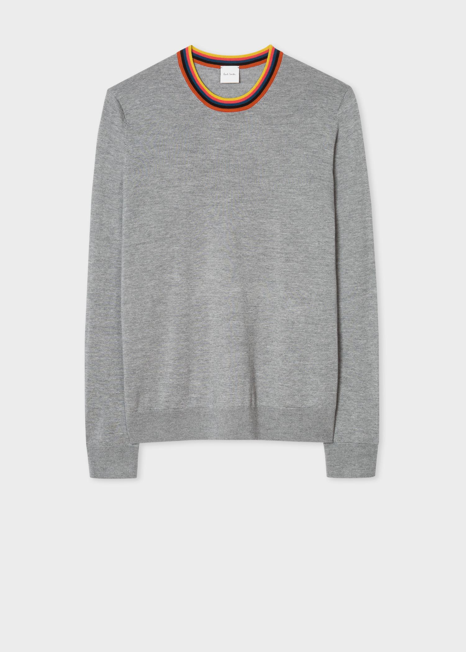 8756f8fbb1497a Front View - Men's Light Grey Merino Wool Sweater With 'Artist Stripe'  Collar Paul