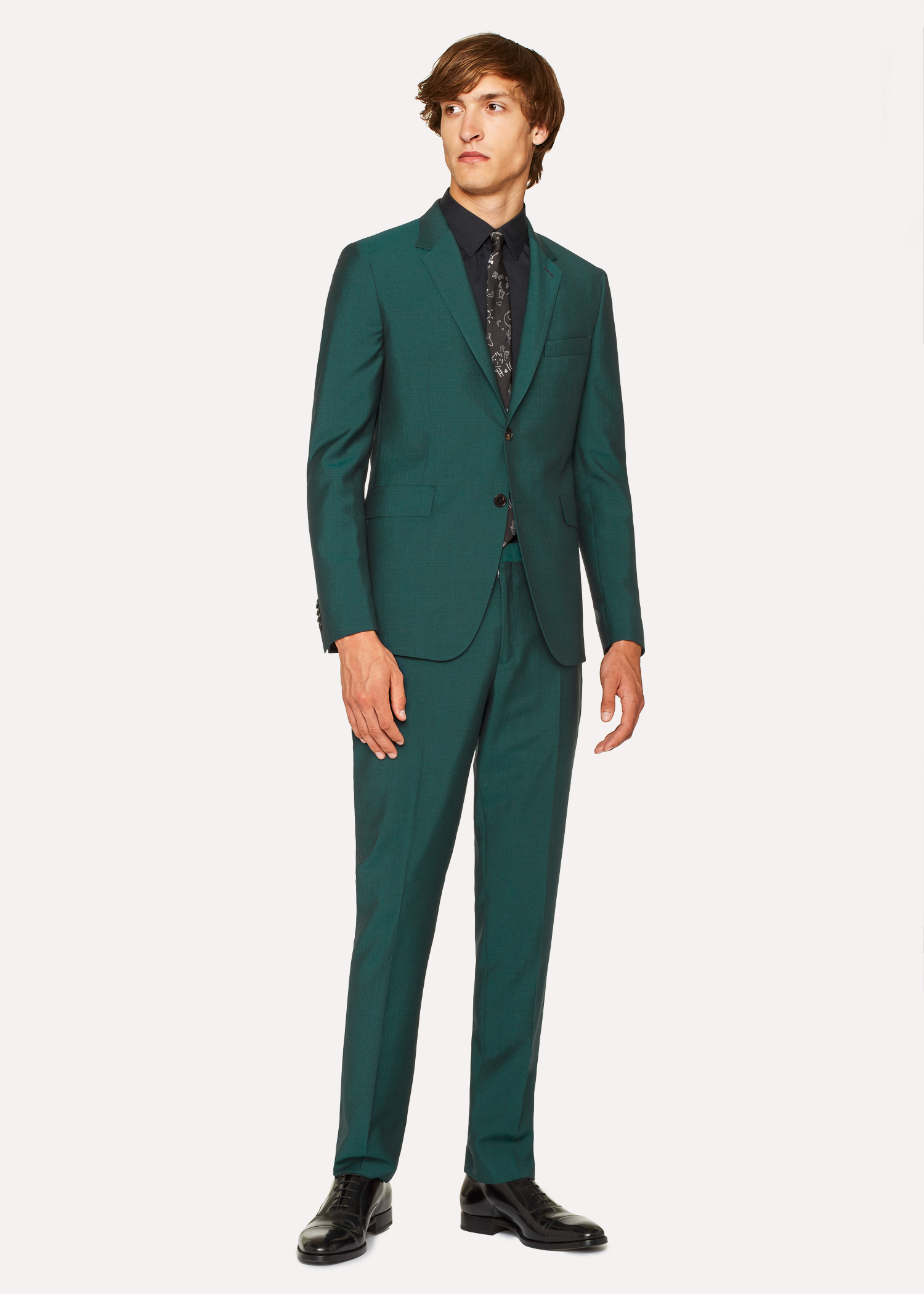Amante Costume Homme Vert Foncé En Laine Et Mohair Coupe Slim - Paul &QQ_22