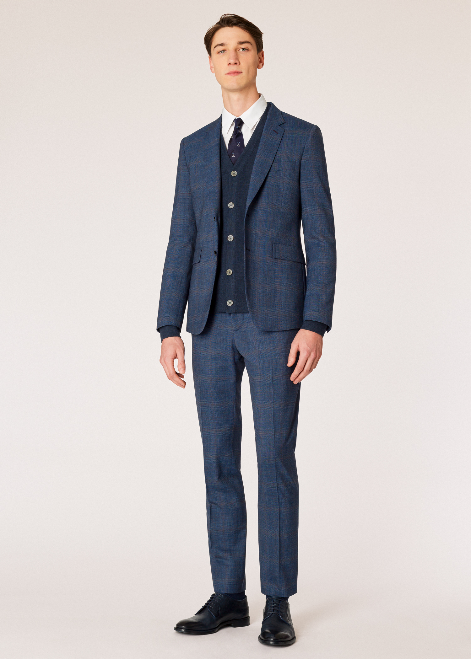 Model front view - The Kensington - Men s Slim-Fit Loro Piana Slate Blue  Check 170197b86