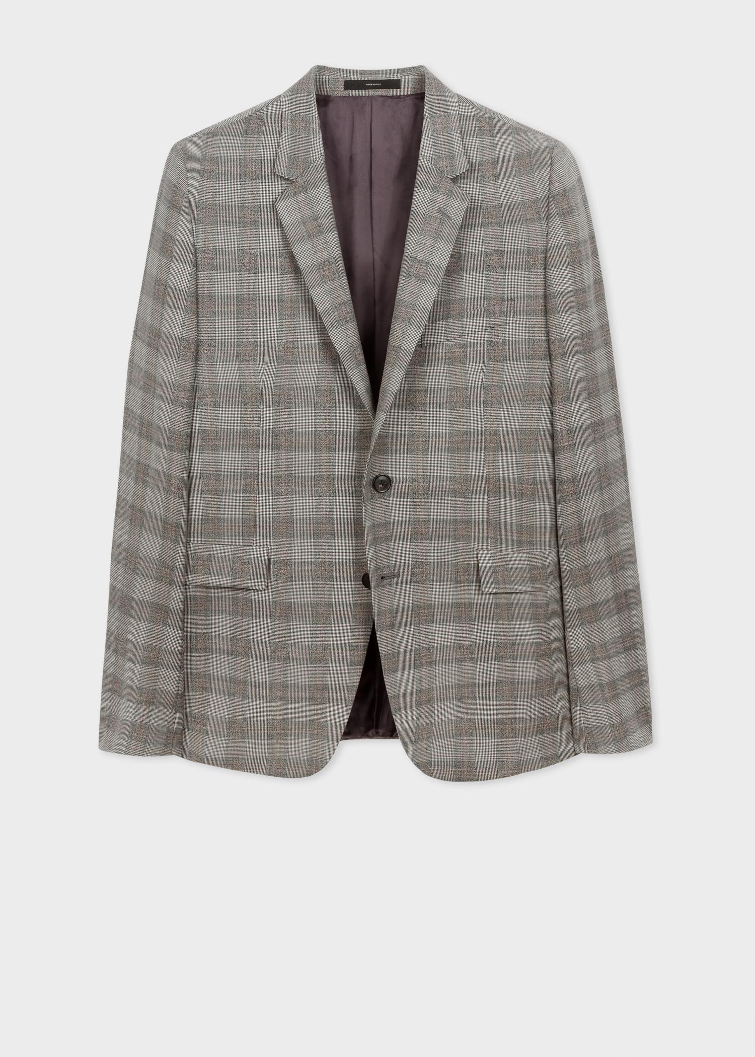 blazer homme gris motif prince de galles en laine coupe. Black Bedroom Furniture Sets. Home Design Ideas