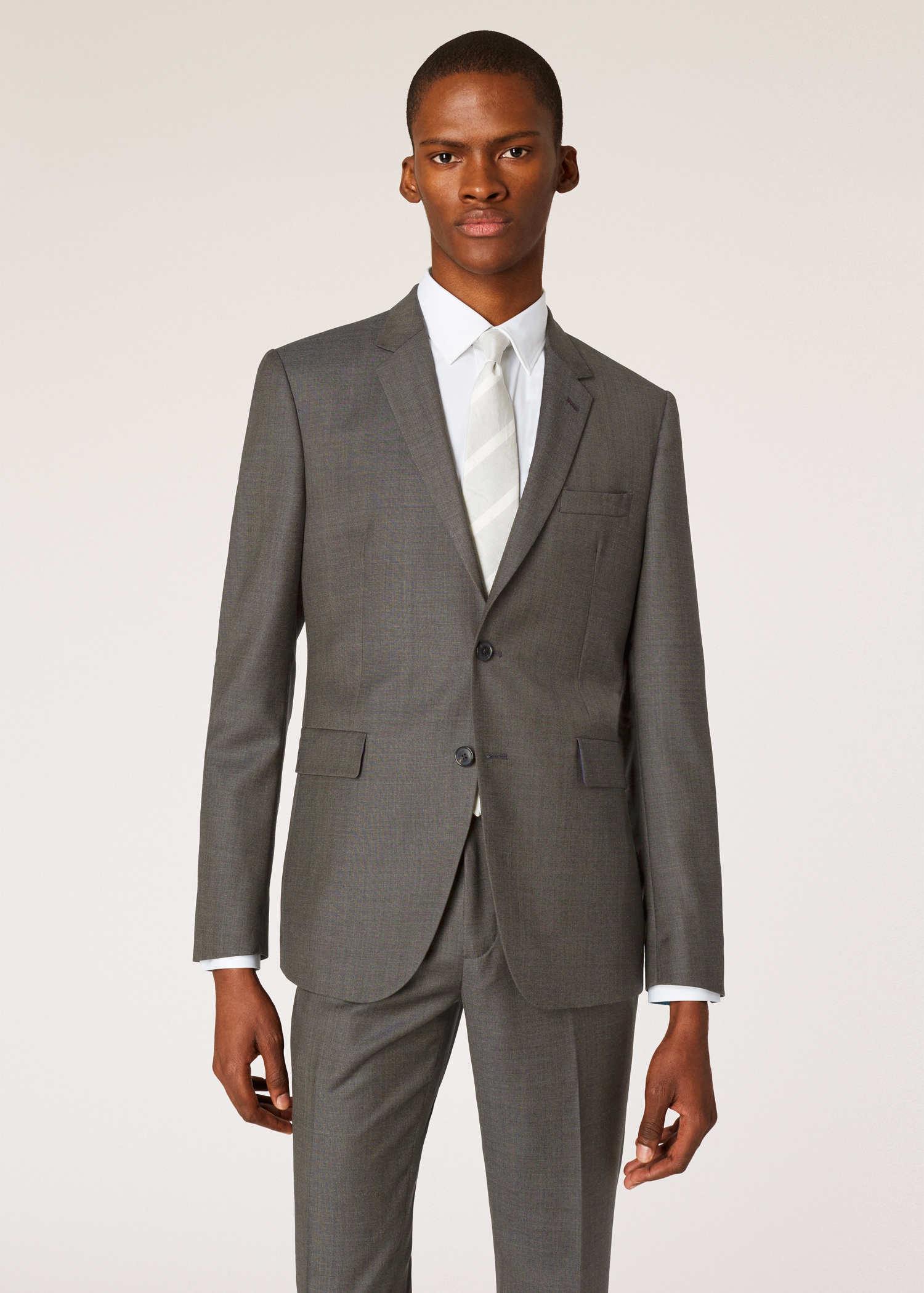 6d65a7bfa Model front close up - Men's Slim-Fit Charcoal Grey Wool Two-Button Suit