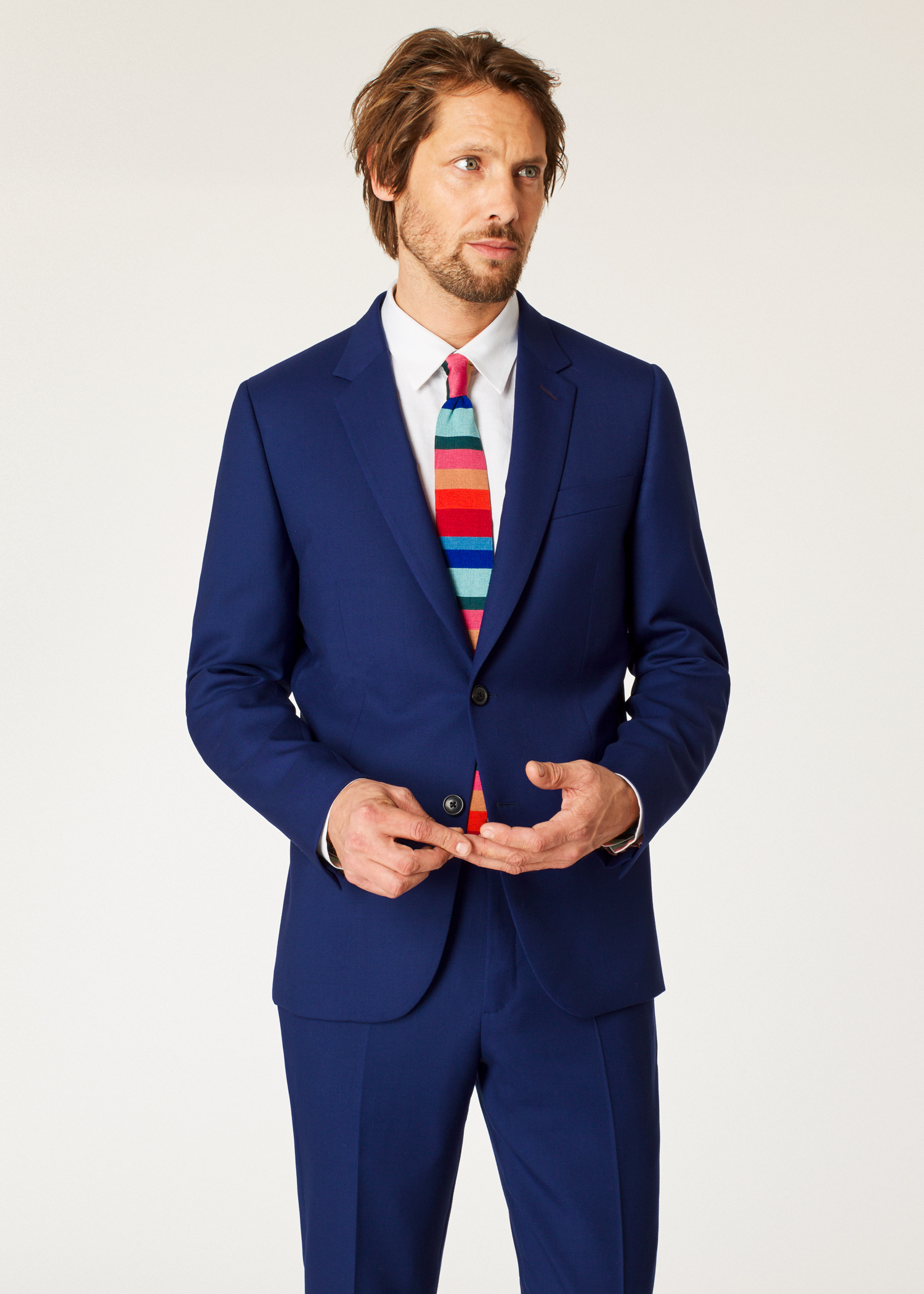 Asian tailored blue suit