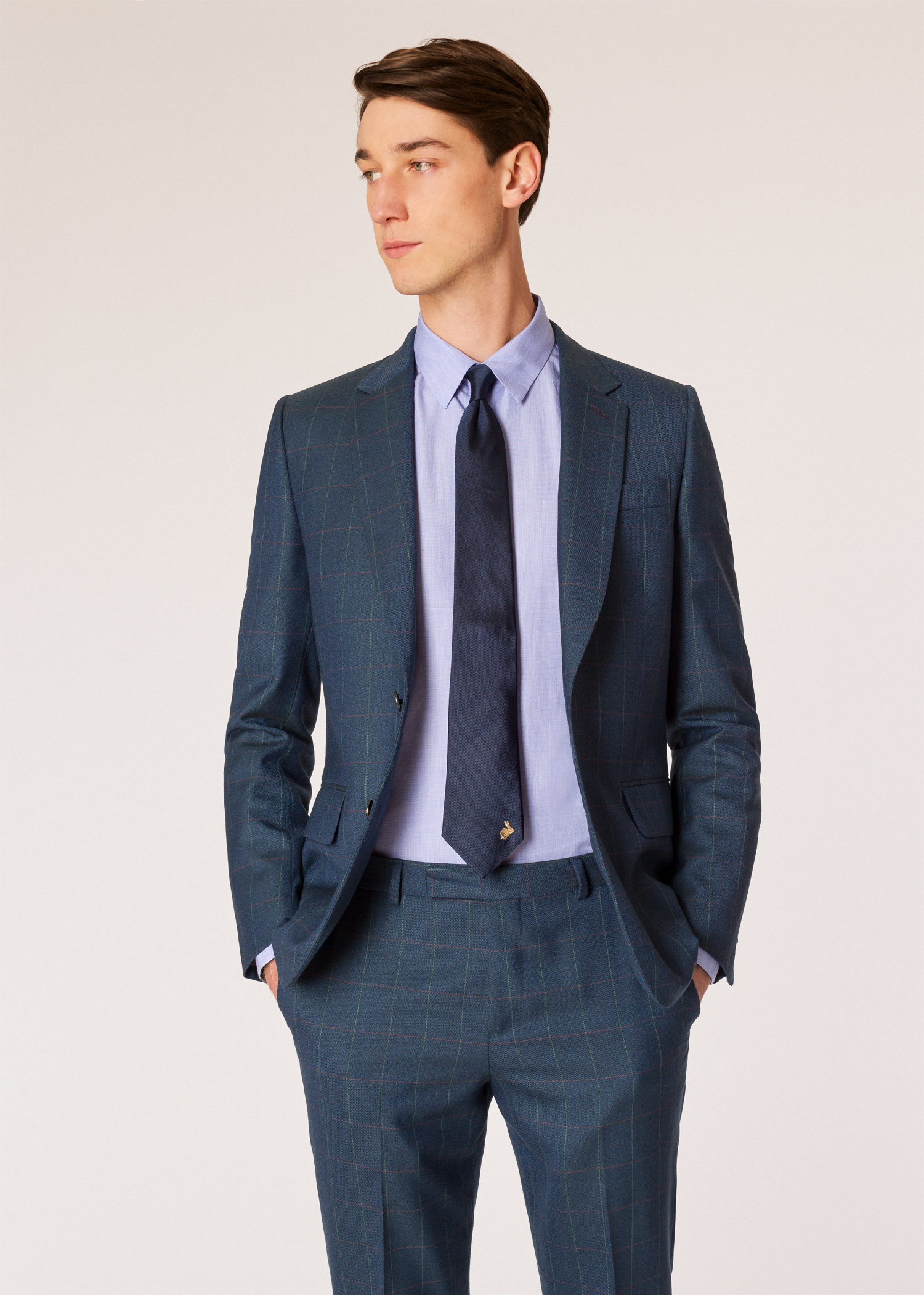 d2b699c897b8 Model blazer front view - The Soho - Men's Tailored-Fit Dark Teal Windowpane  Check