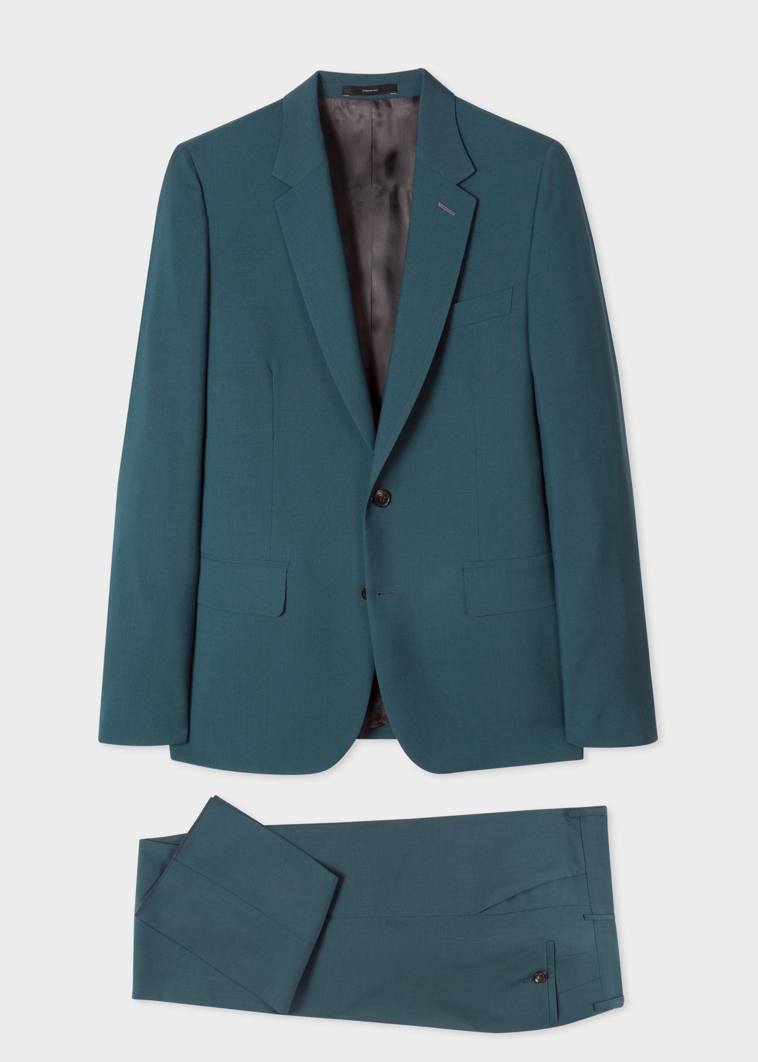 le soho costume homme bleu p trole en laine et mohair coupe ajust e paul smith francais