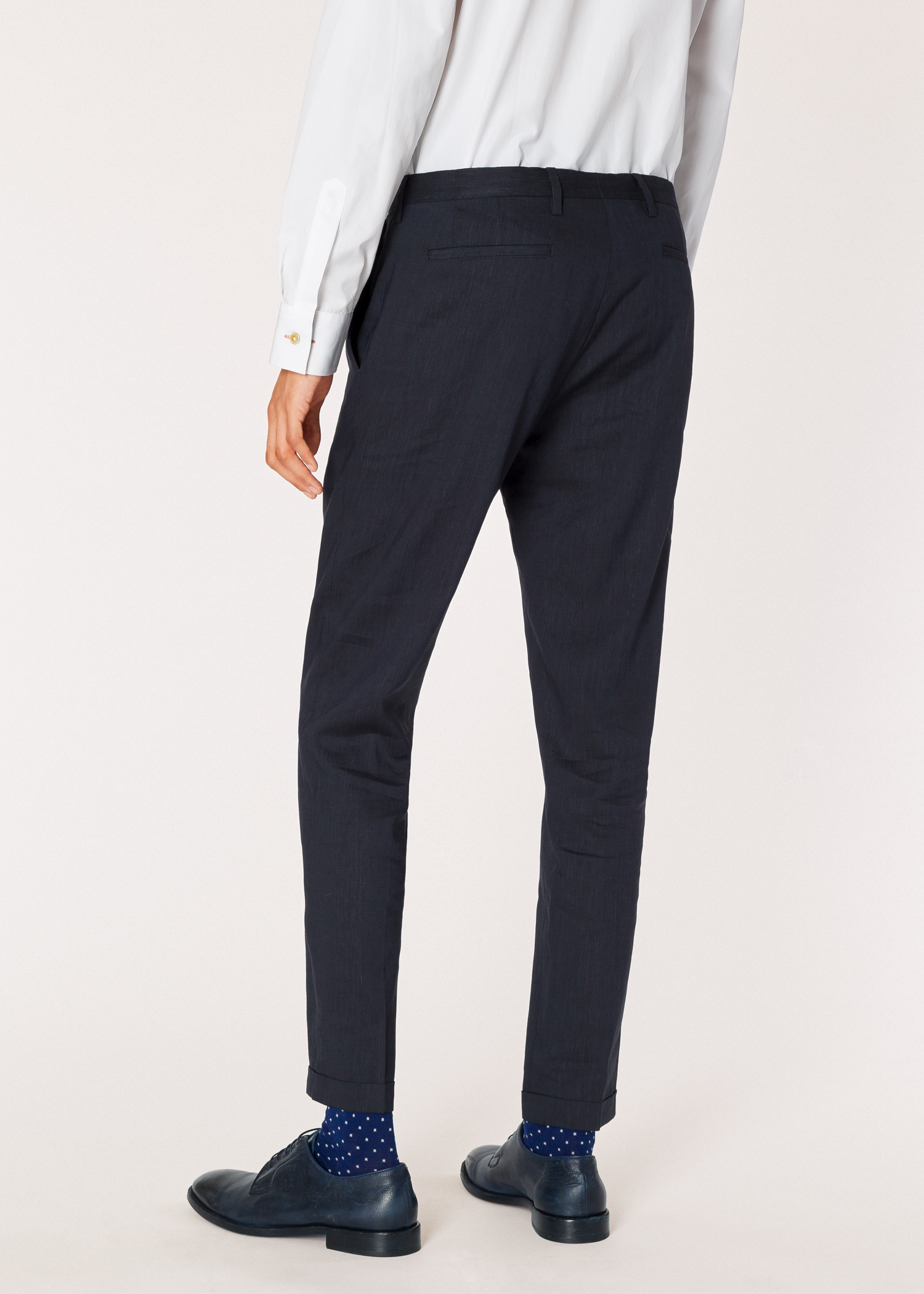 7556ca7cc6 Model back close up - Men's Slim-Fit Dark Navy Marl Wool And Linen Trousers