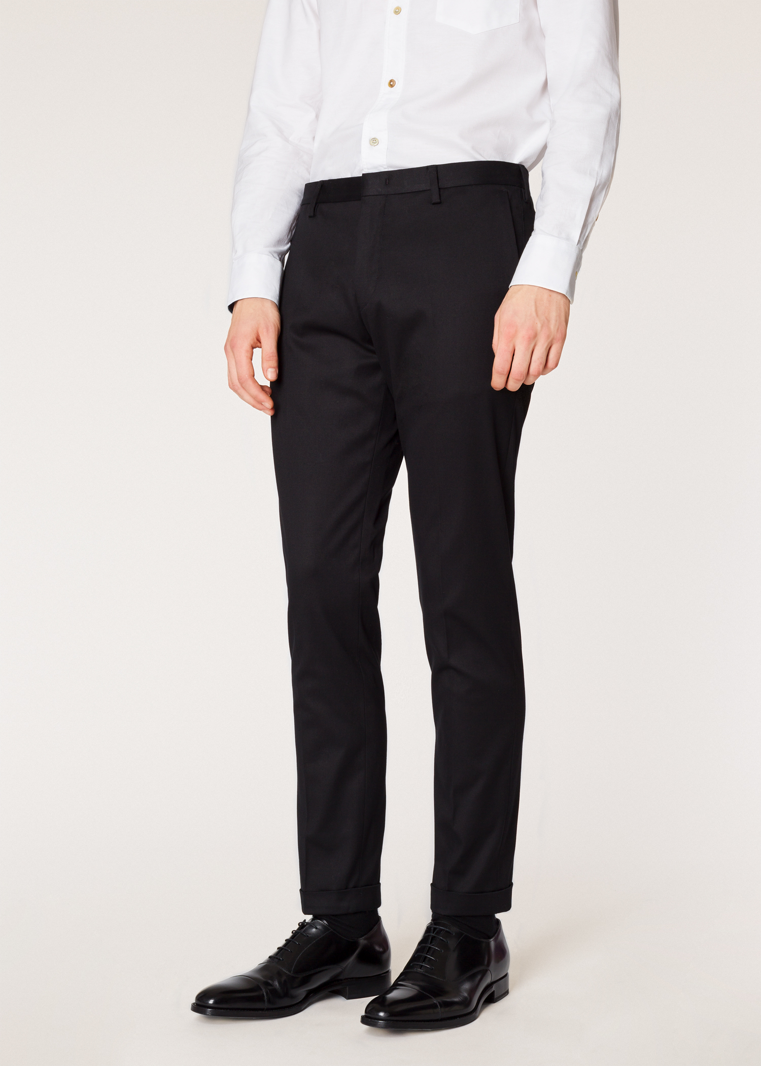 ff331be5 Model front close up - Men's Slim-Fit Black Stretch-Cotton Trousers Paul  Smith