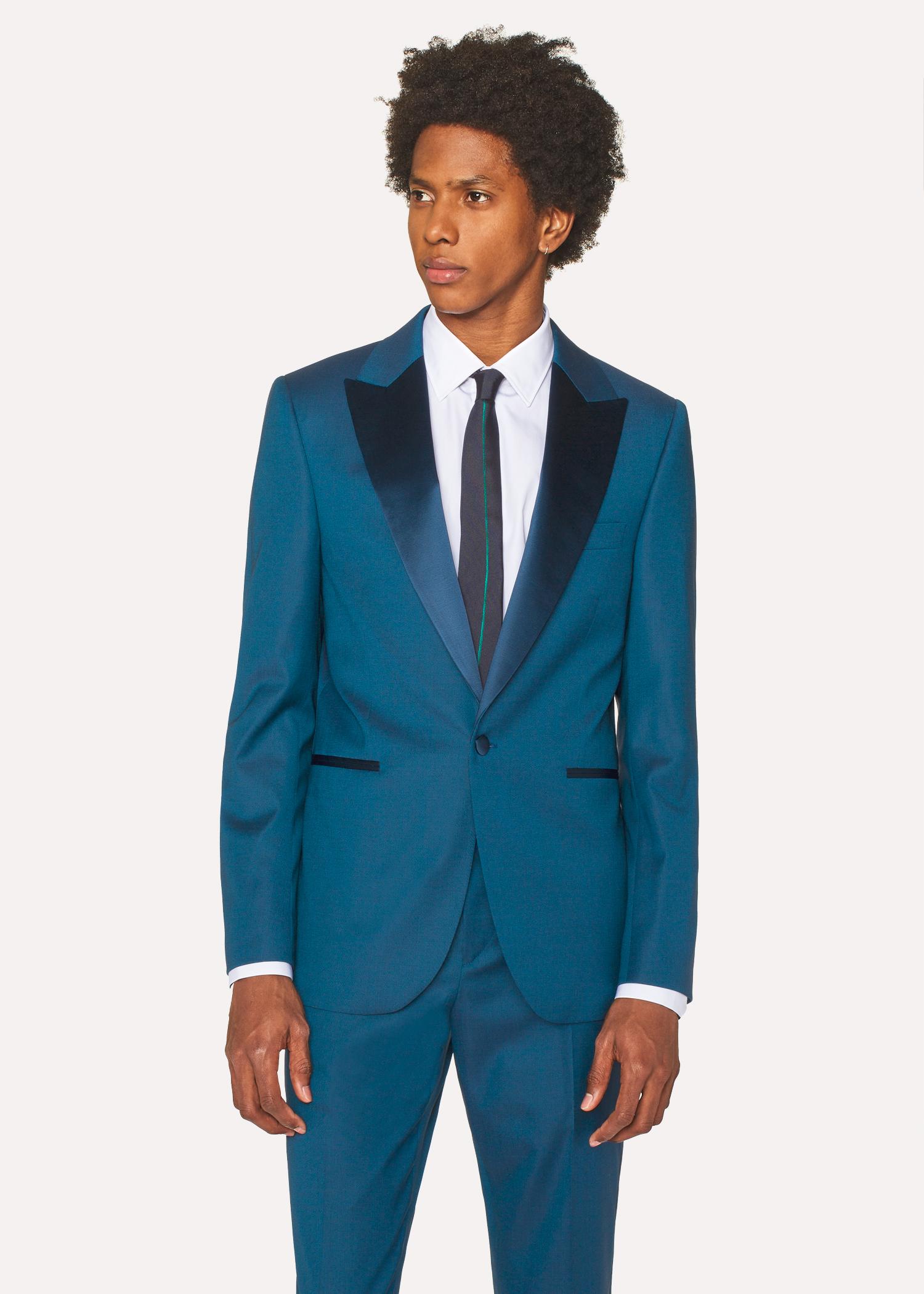 Le Soho - Costume De Soirée Homme Bleu Canard En Laine Coupe Ajustée Paul  Smith d8940f49b96