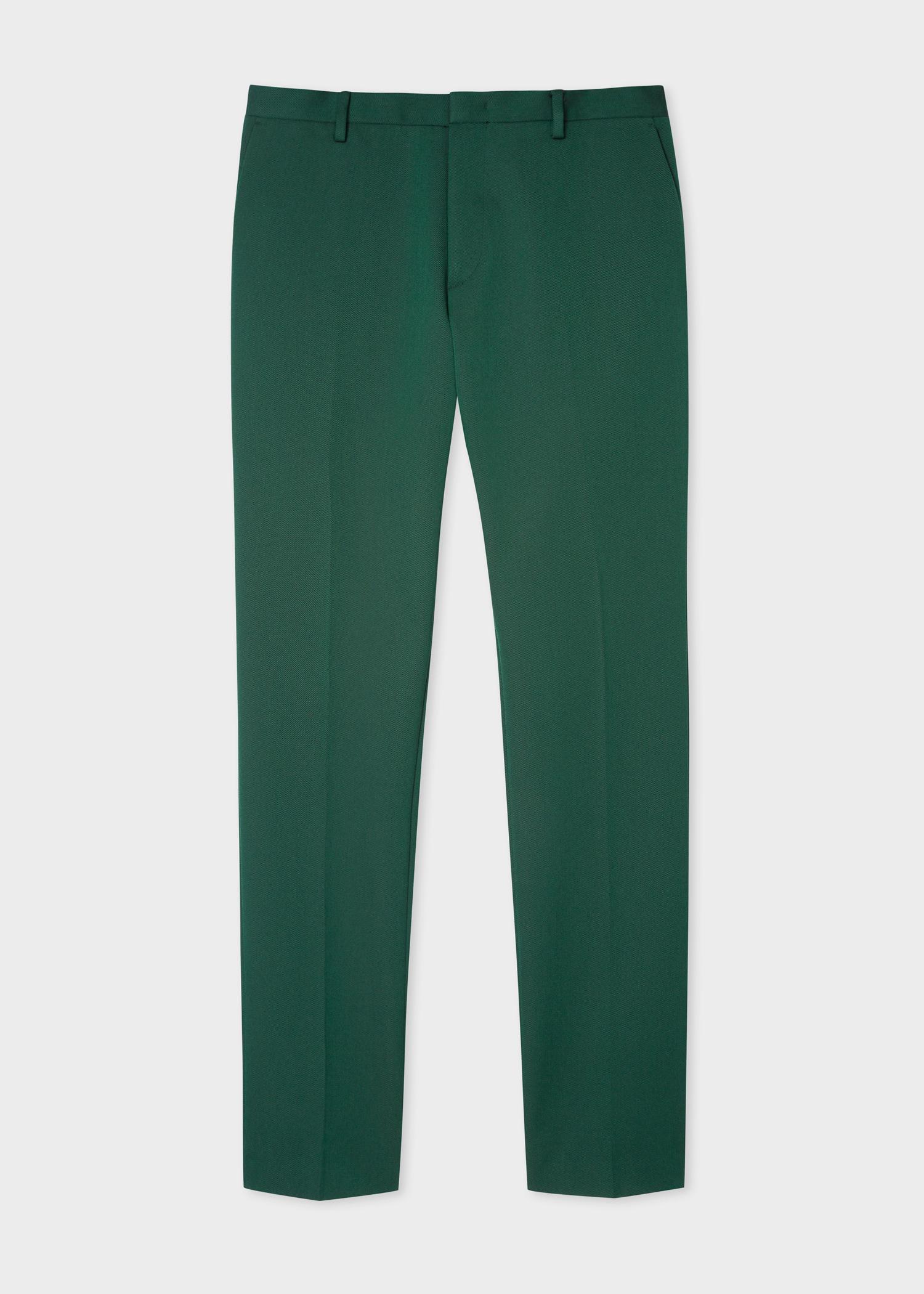 meilleur service 7165a 5a476 Pantalon Homme Vert En Twill De Laine Mélangé Coupe Slim