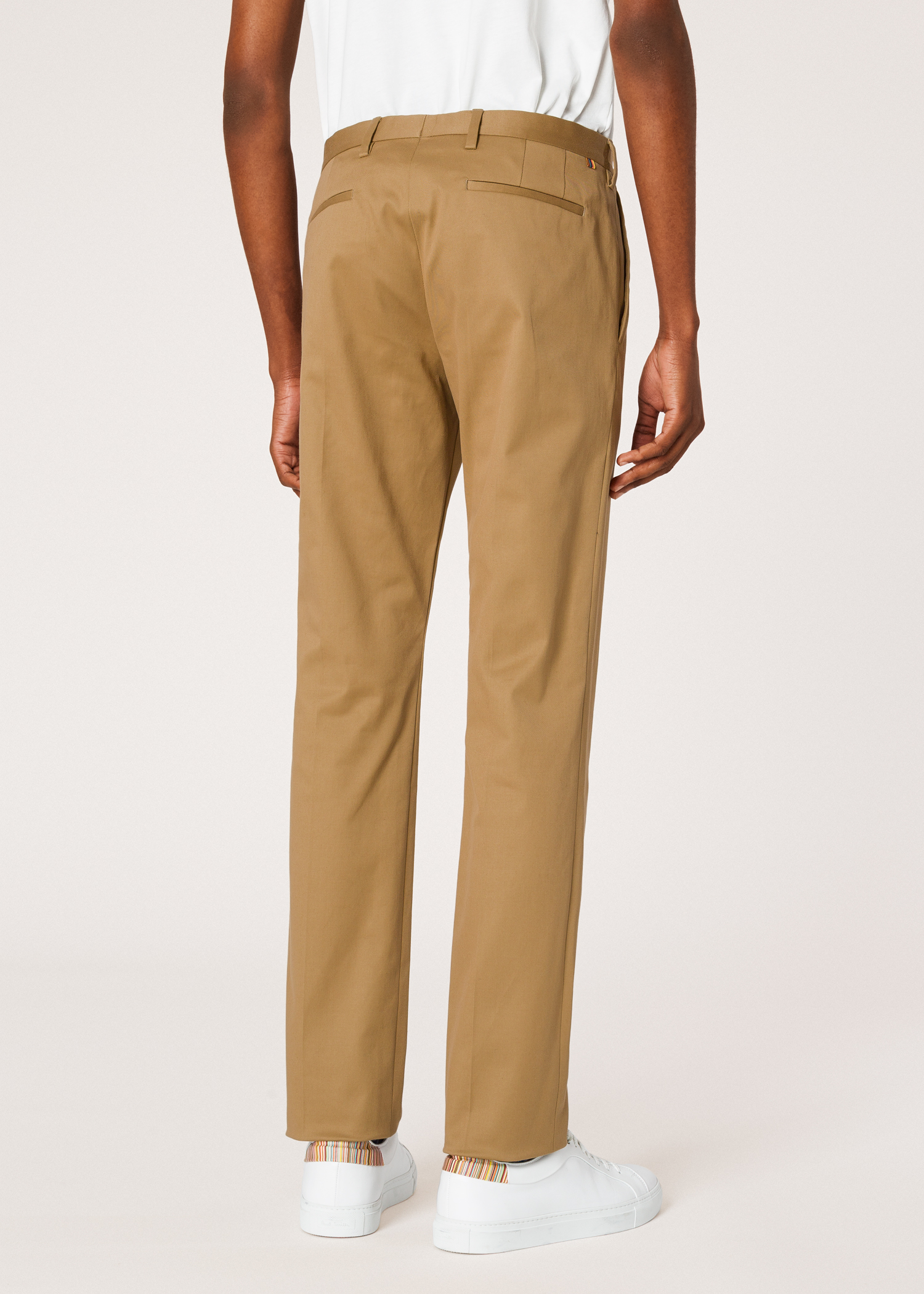 970754368b4336 Model back close up - Men's Slim-Fit Tan Stretch-Cotton Chinos Paul Smith