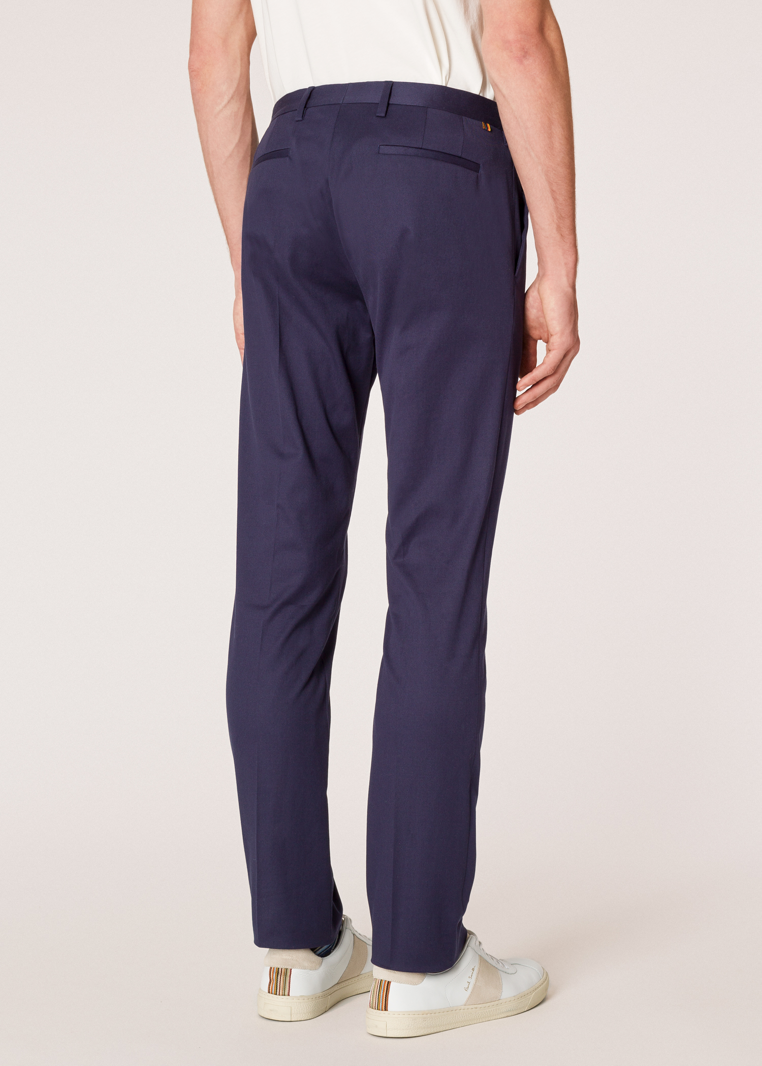 Men S Slim Fit Navy Stretch Cotton Chinos Paul Smith