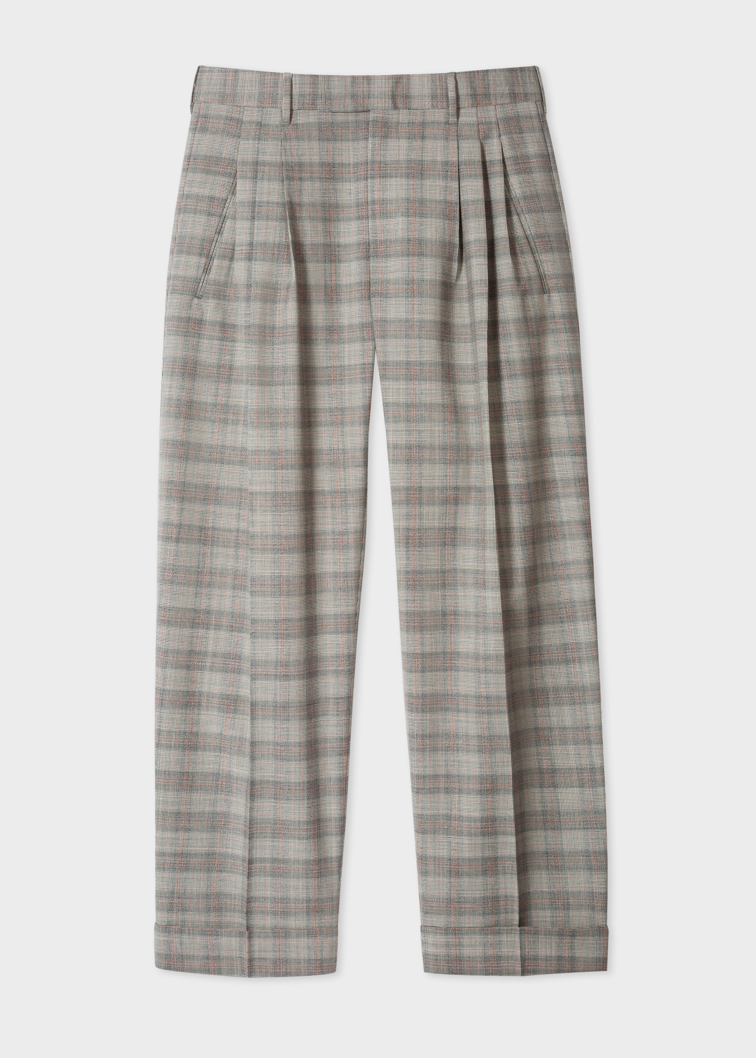 Men S Wide Leg Grey And Orange Glen Plaid Pleated Wool Trousers