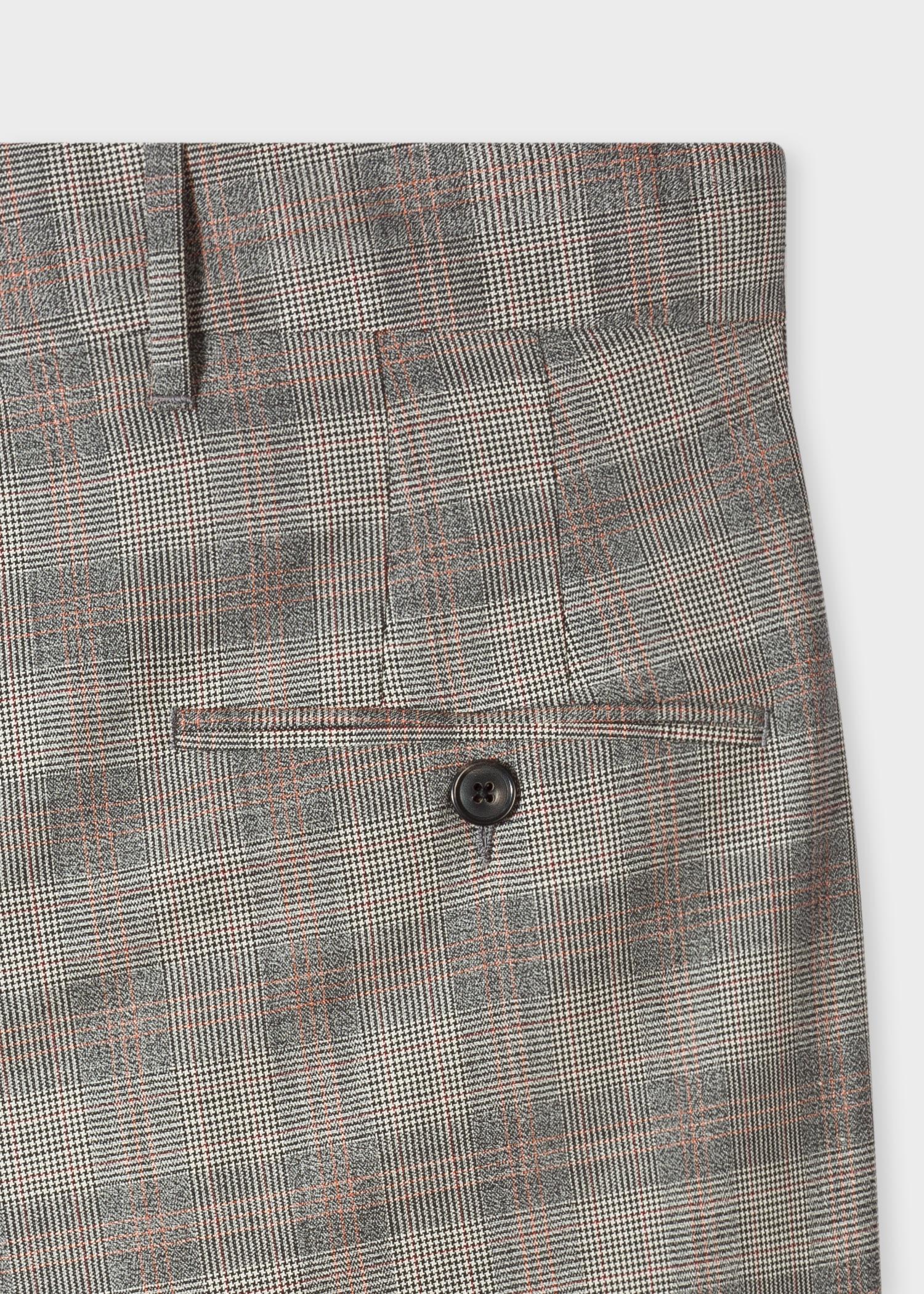 268e933f58 Rear pocket detail - Men's Wide-Leg Grey And Orange Glen Plaid Pleated Wool  Trousers