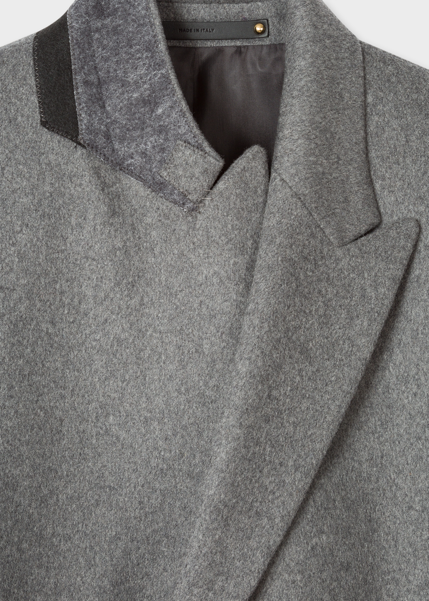Men S Light Grey Cashmere Blend Peak Lapel Epsom Coat