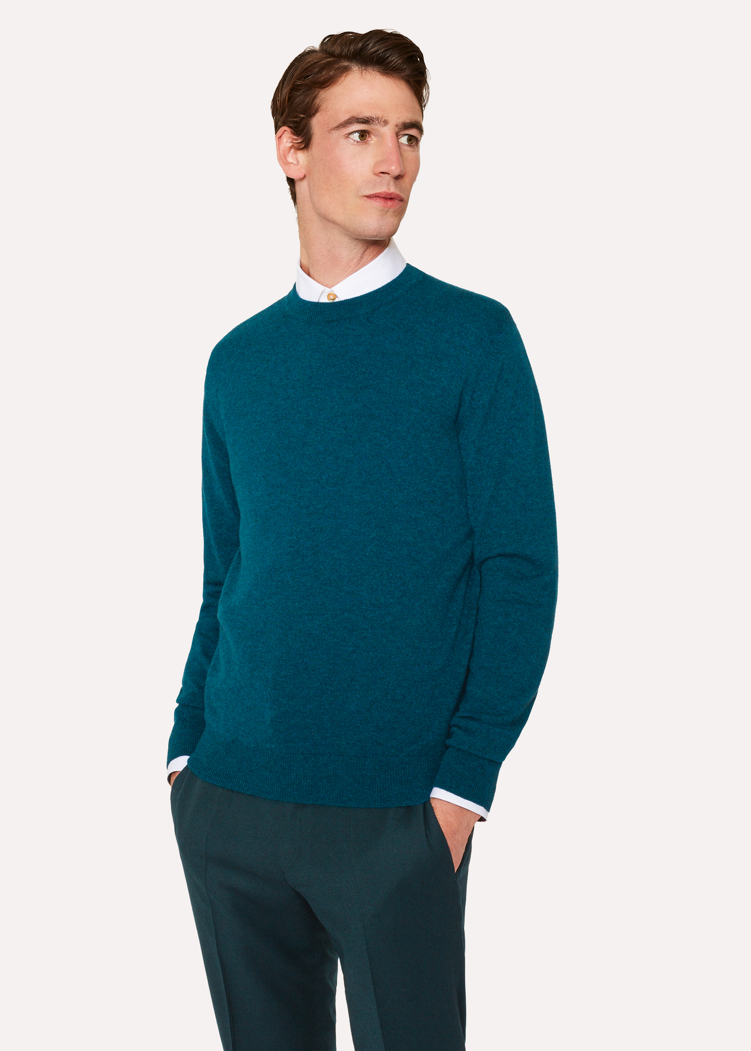 f775e15bb20 Men s Teal Cashmere Crew Neck Sweater - Paul Smith Denmark