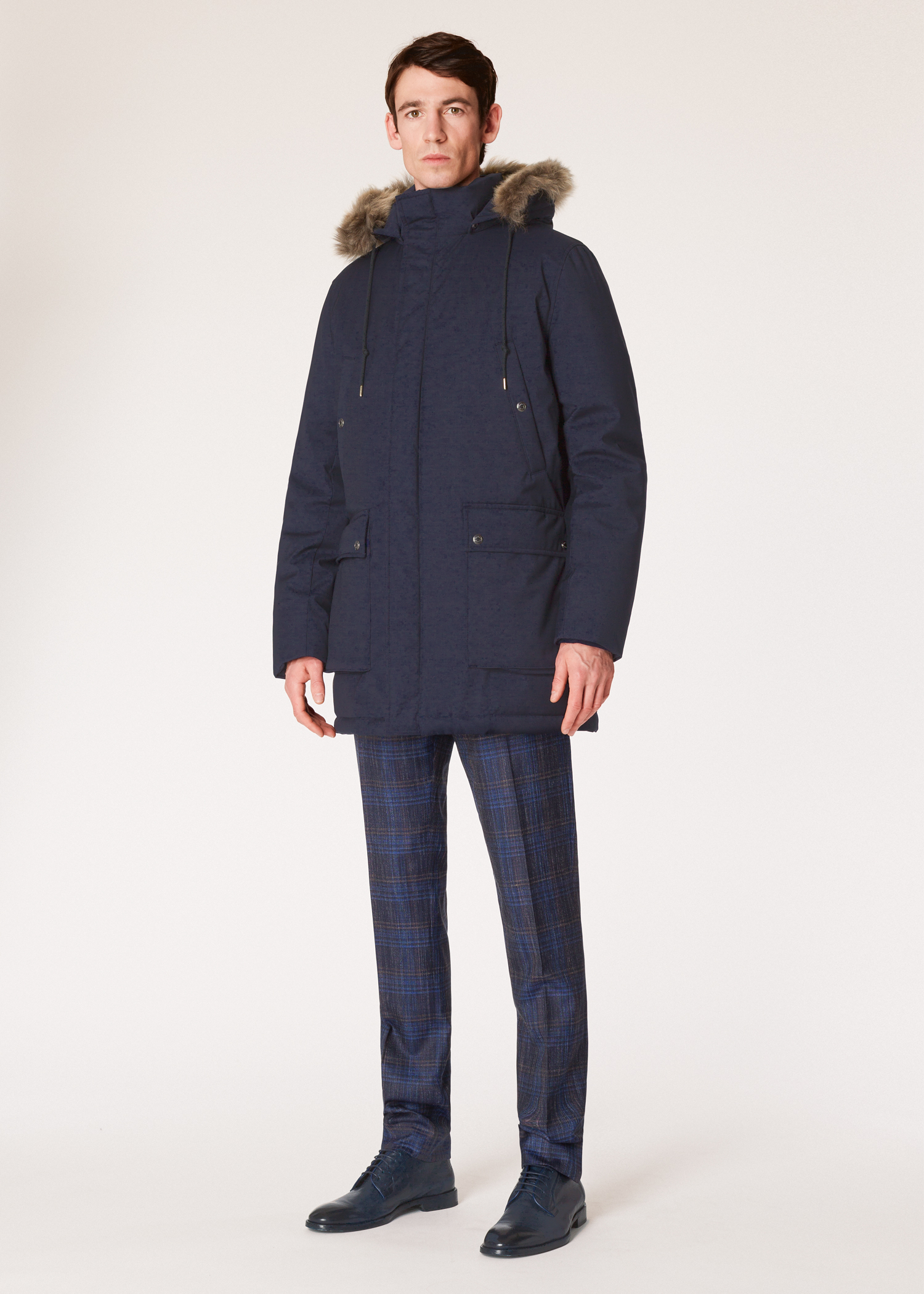 a498eb303840 Model view - Paul Smith + Ridley Scott - Men s Navy Down-Filled Parka With