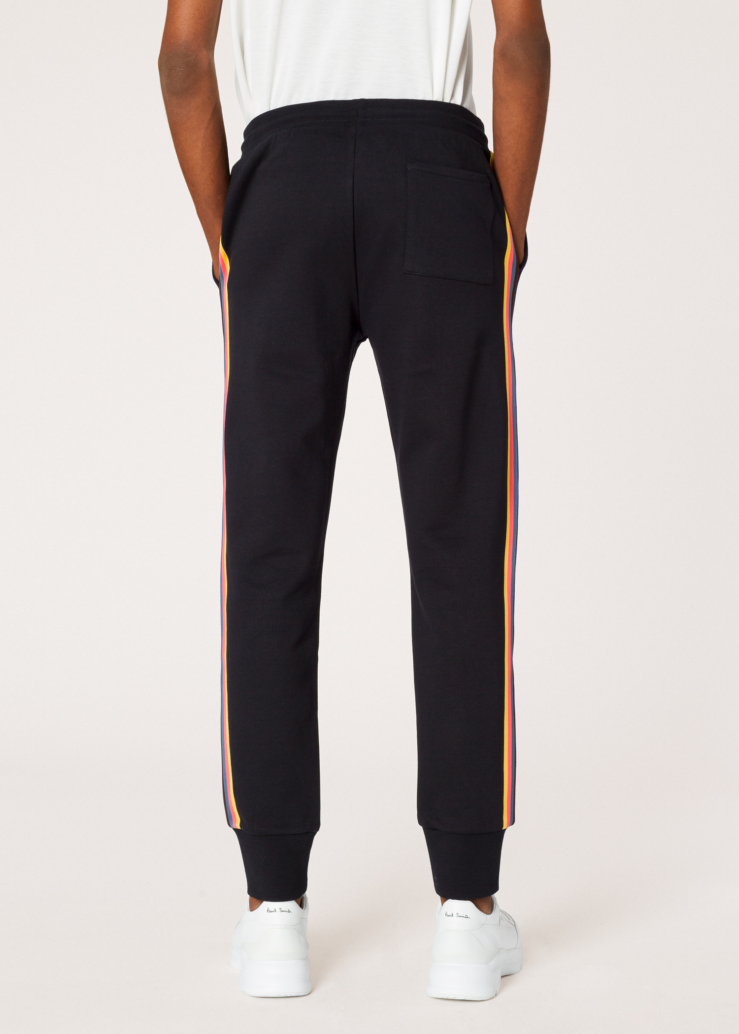 72624aef6f54 Model Back View - Men s Black  Artist Stripe  Side Cotton Sweatpants ...