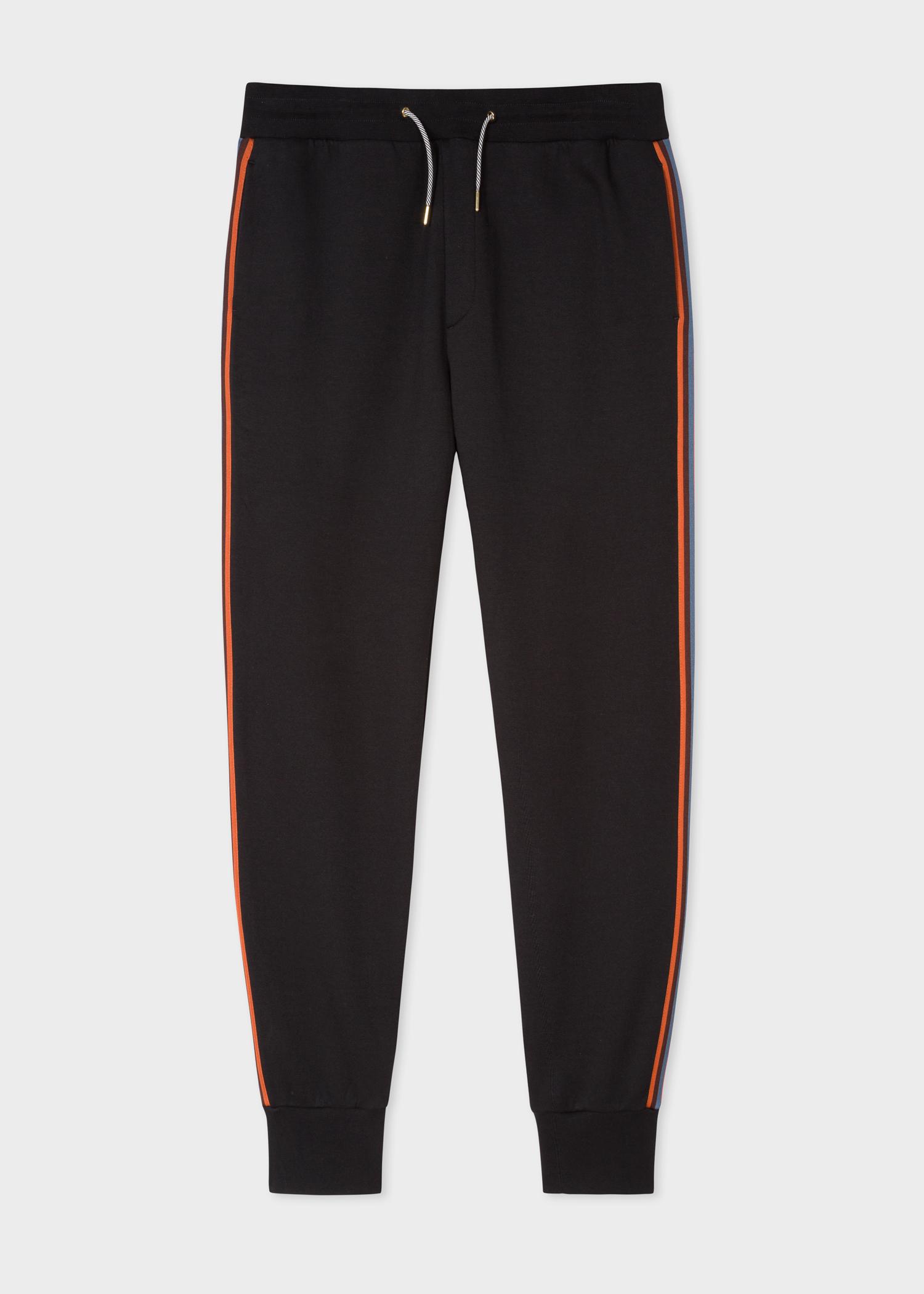 6414f54146a4 Front View - Men s Black  Artist Stripe  Side Cotton Sweatpants ...