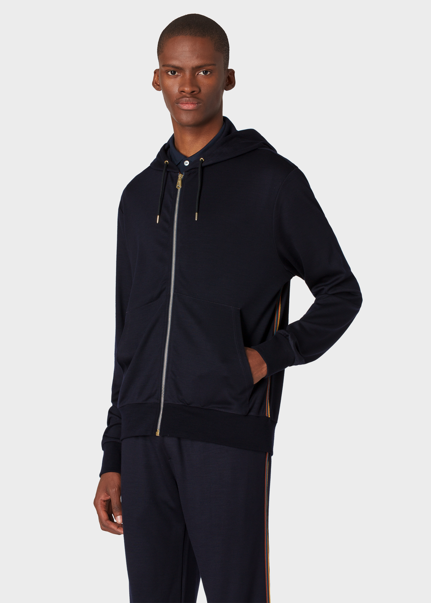 874447433fa3e4 Model front close up - Men's Dark Navy Zip-Front Wool Hoodie With 'Artist