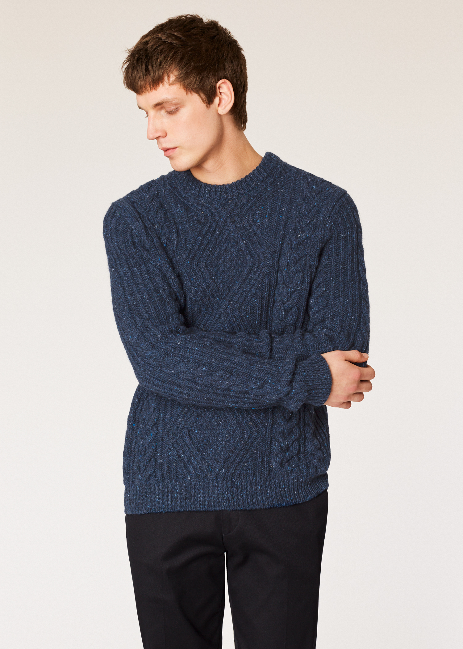 1db3b3346e7517 Model front close up - Men's Navy Wool-Mohair Donegal Cable-Knit Sweater  Paul