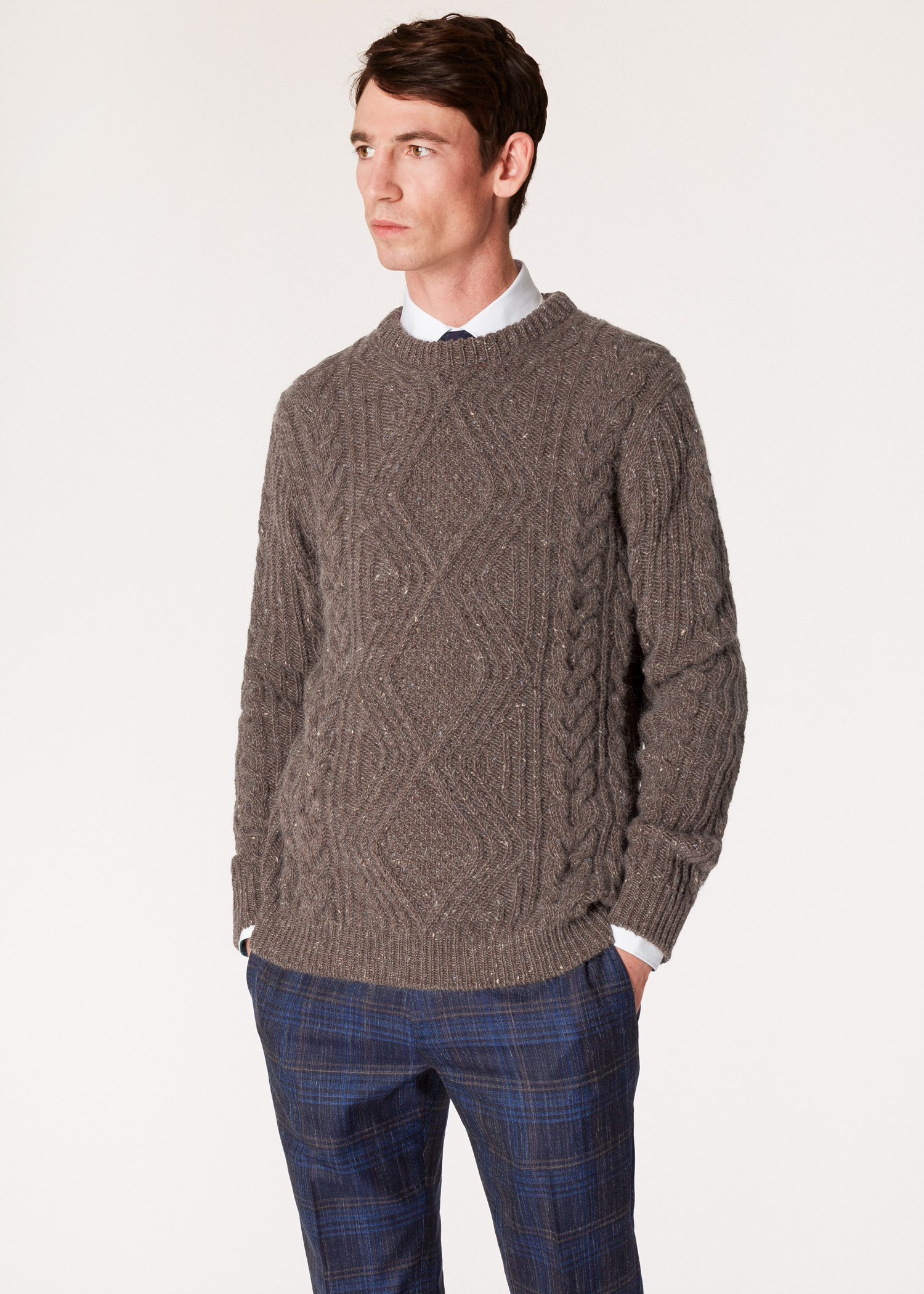 dec750613871eb Model front close up - Men's Brown Wool-Mohair Donegal Cable-Knit Sweater  Paul